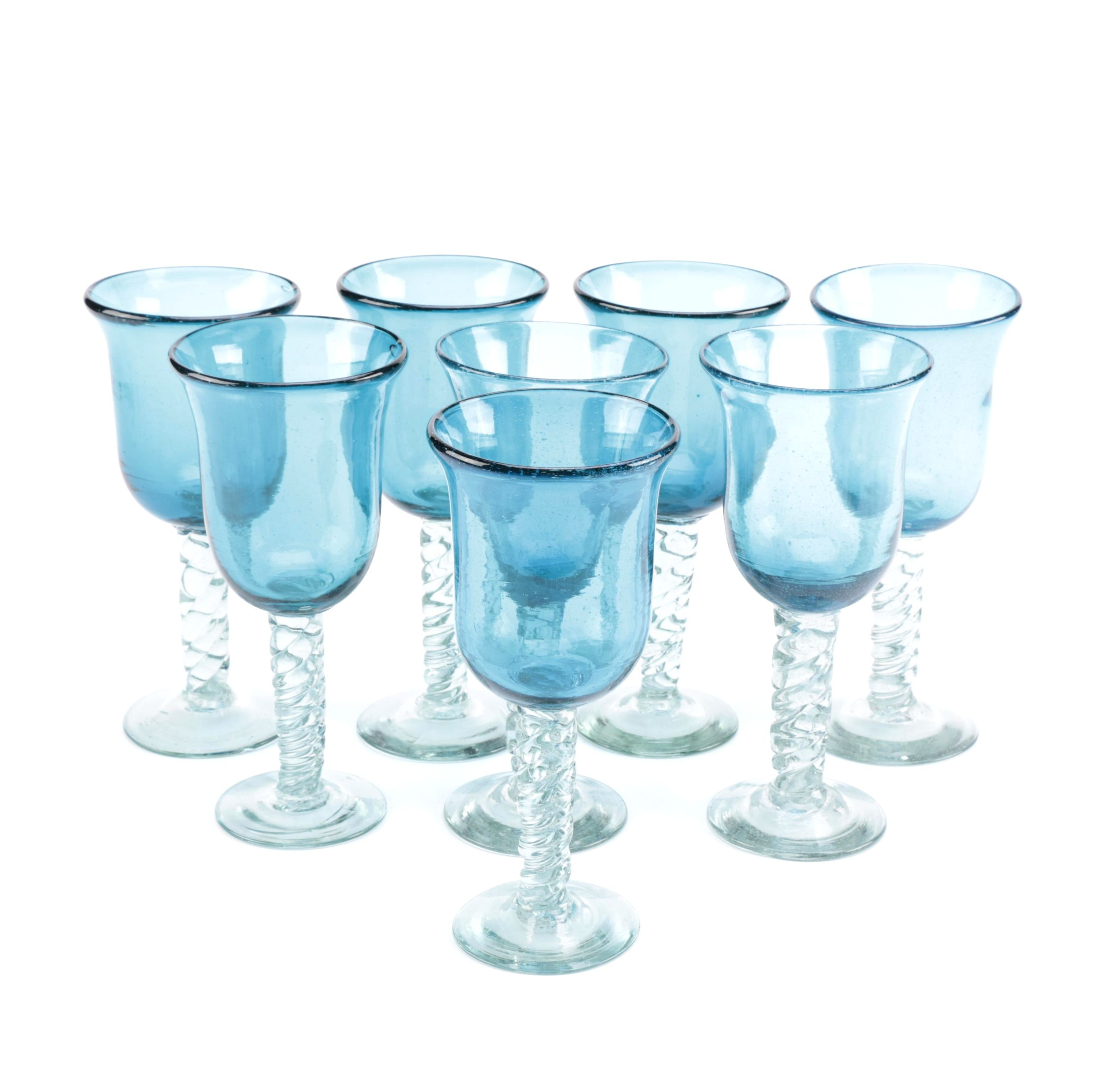 Eight Wine Glasses With Blue Bowls