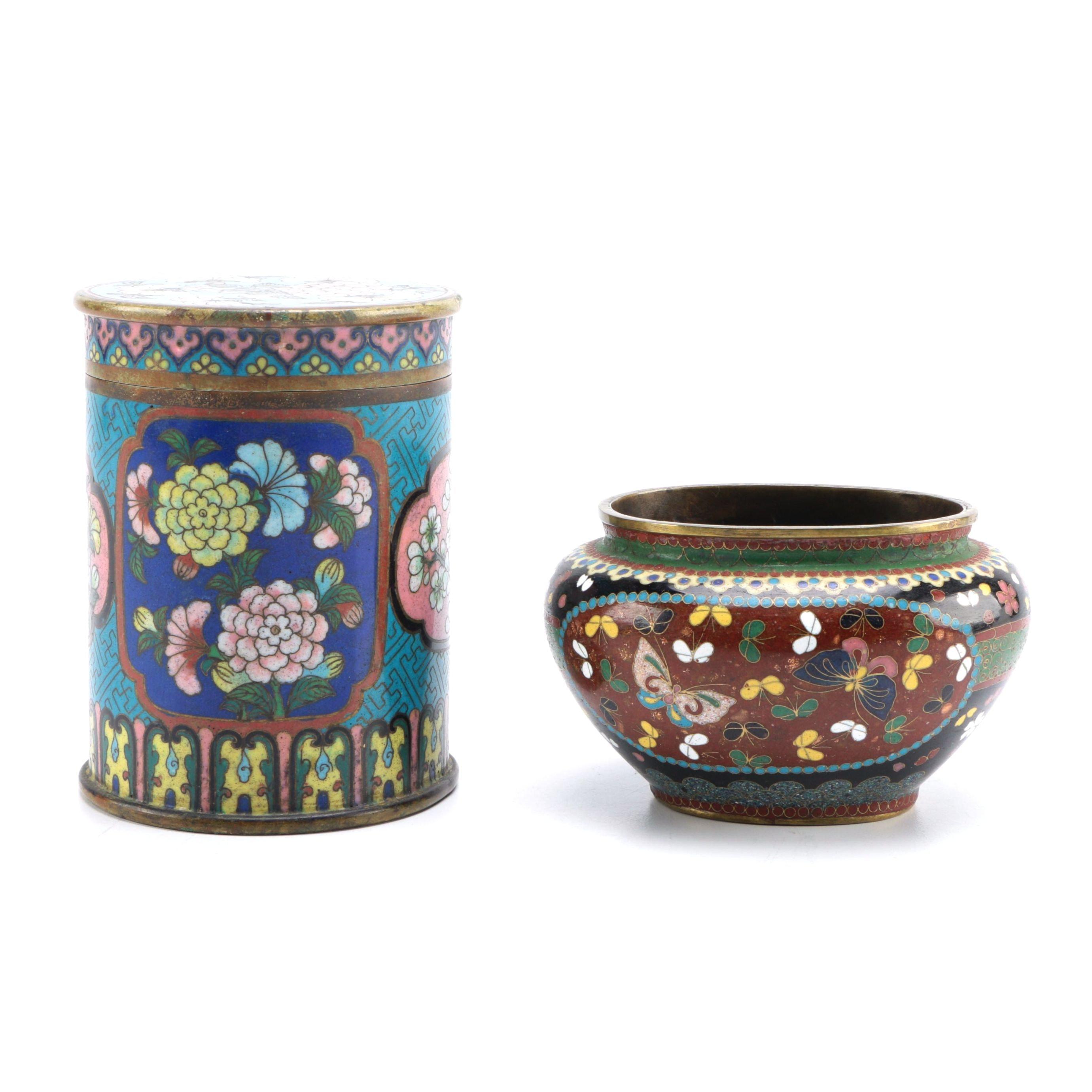 Decorative Cloisonné Brass Tea Cannister and Vase