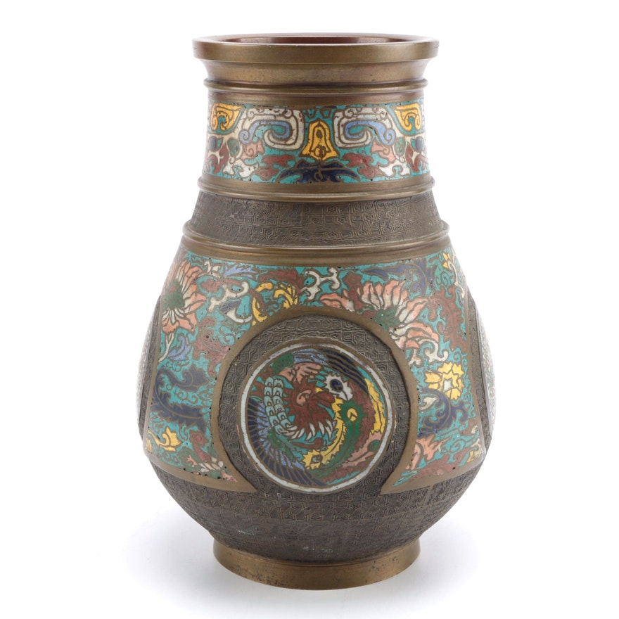 Edo Period Japanese Cloisonn Bronze Vase Ebth