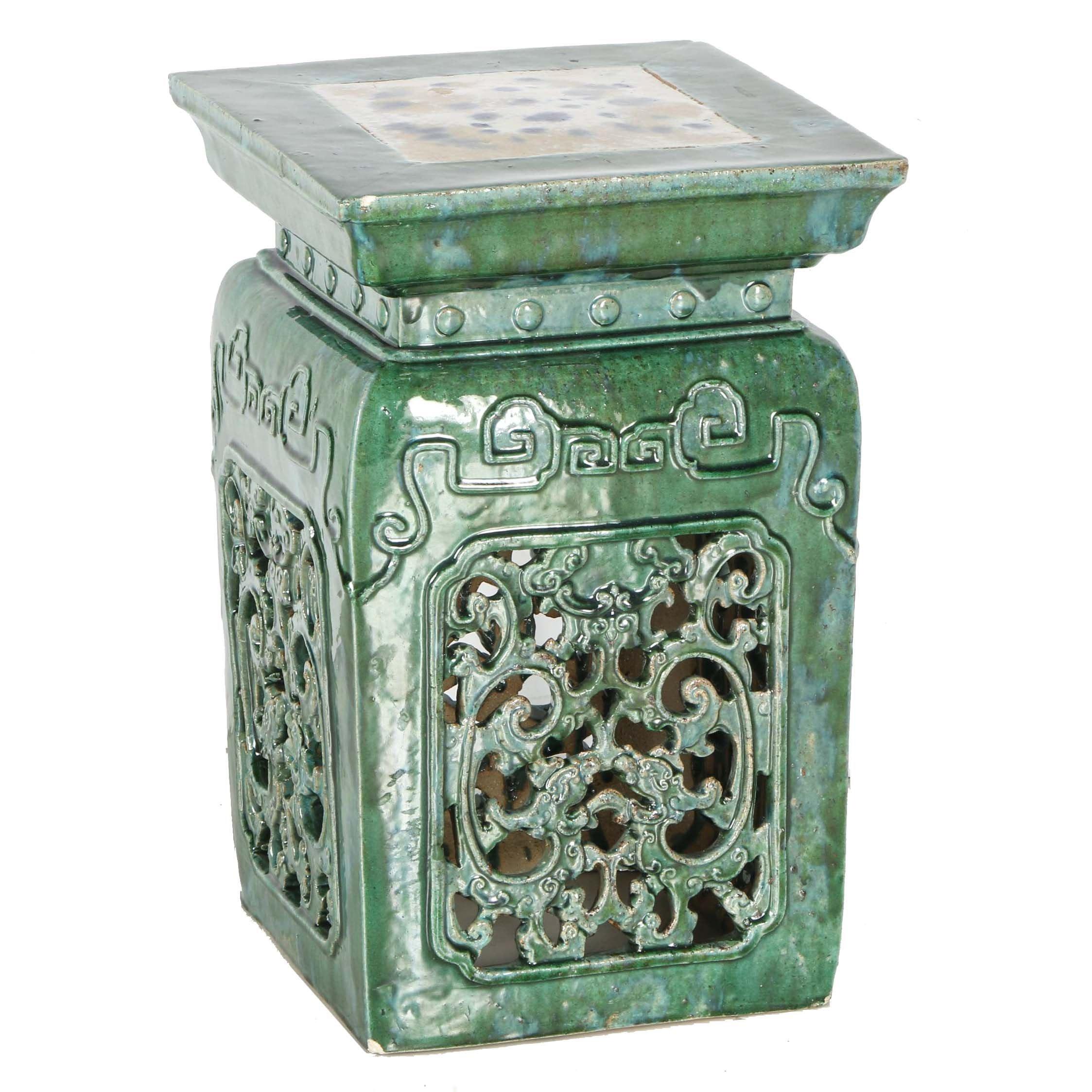 Antique Chinese Glazed Ceramic Garden Stool