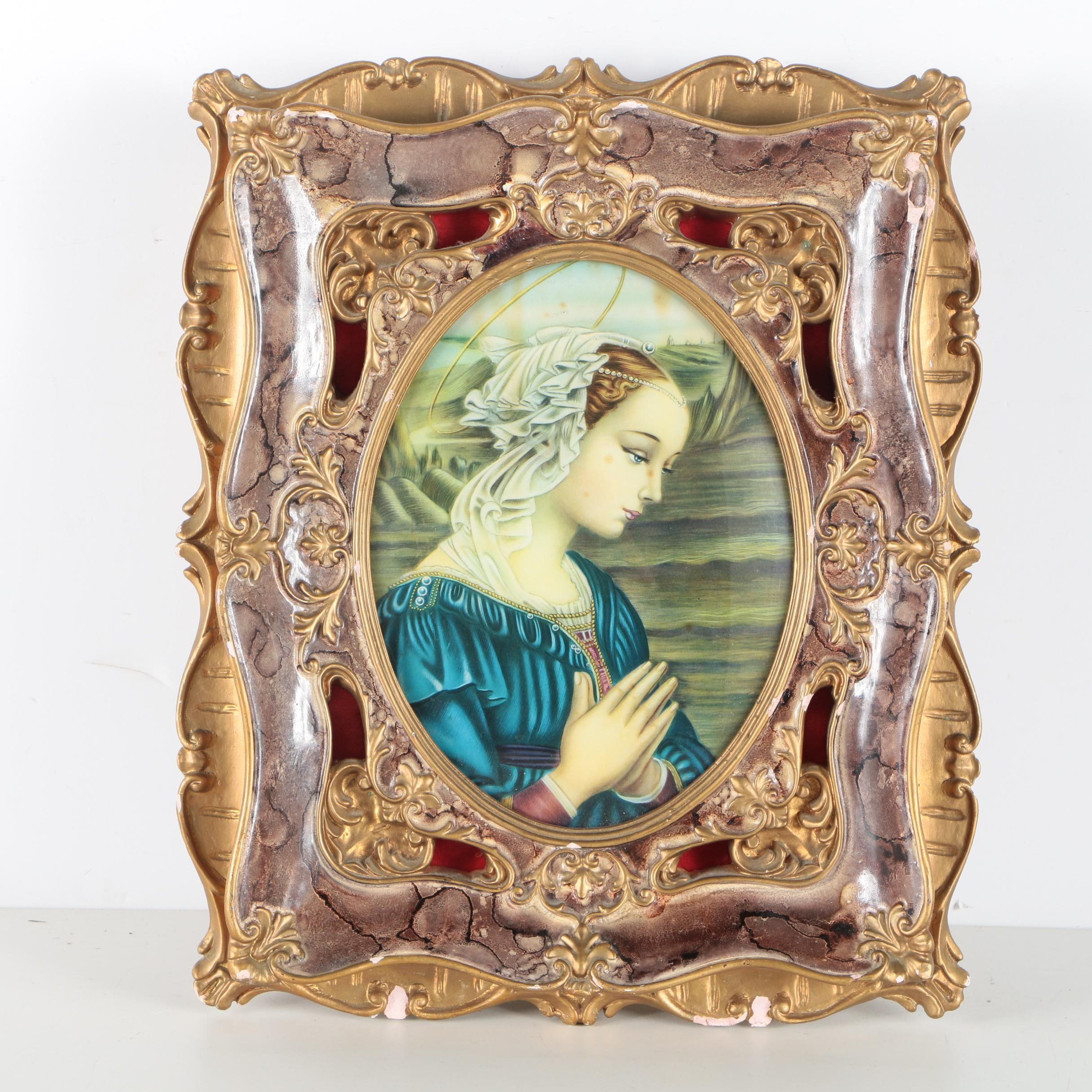 Offset Lithograph Print of Woman In Light Box Frame