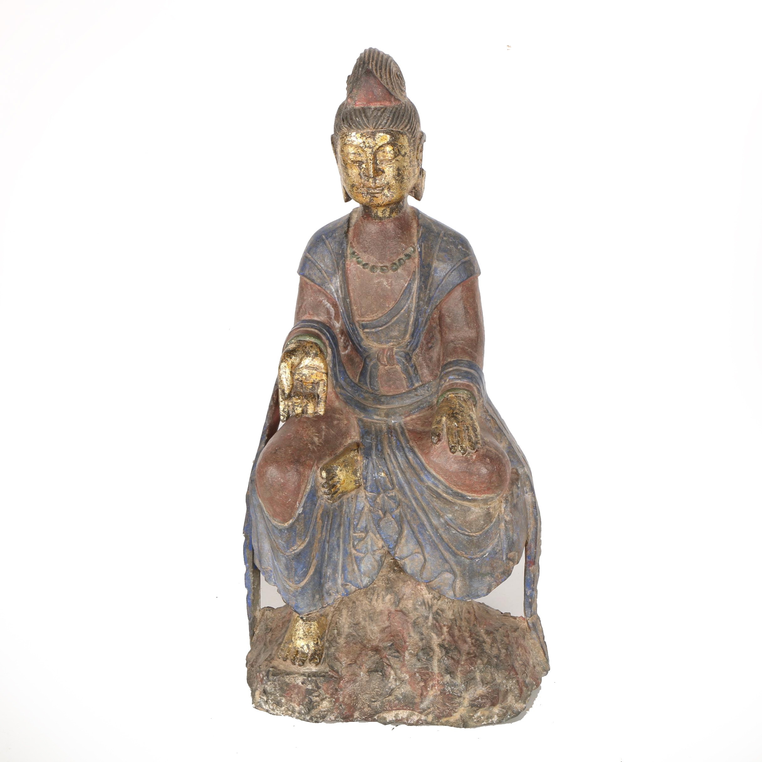 Chinese Carved Iron Guan Yin Sculpture