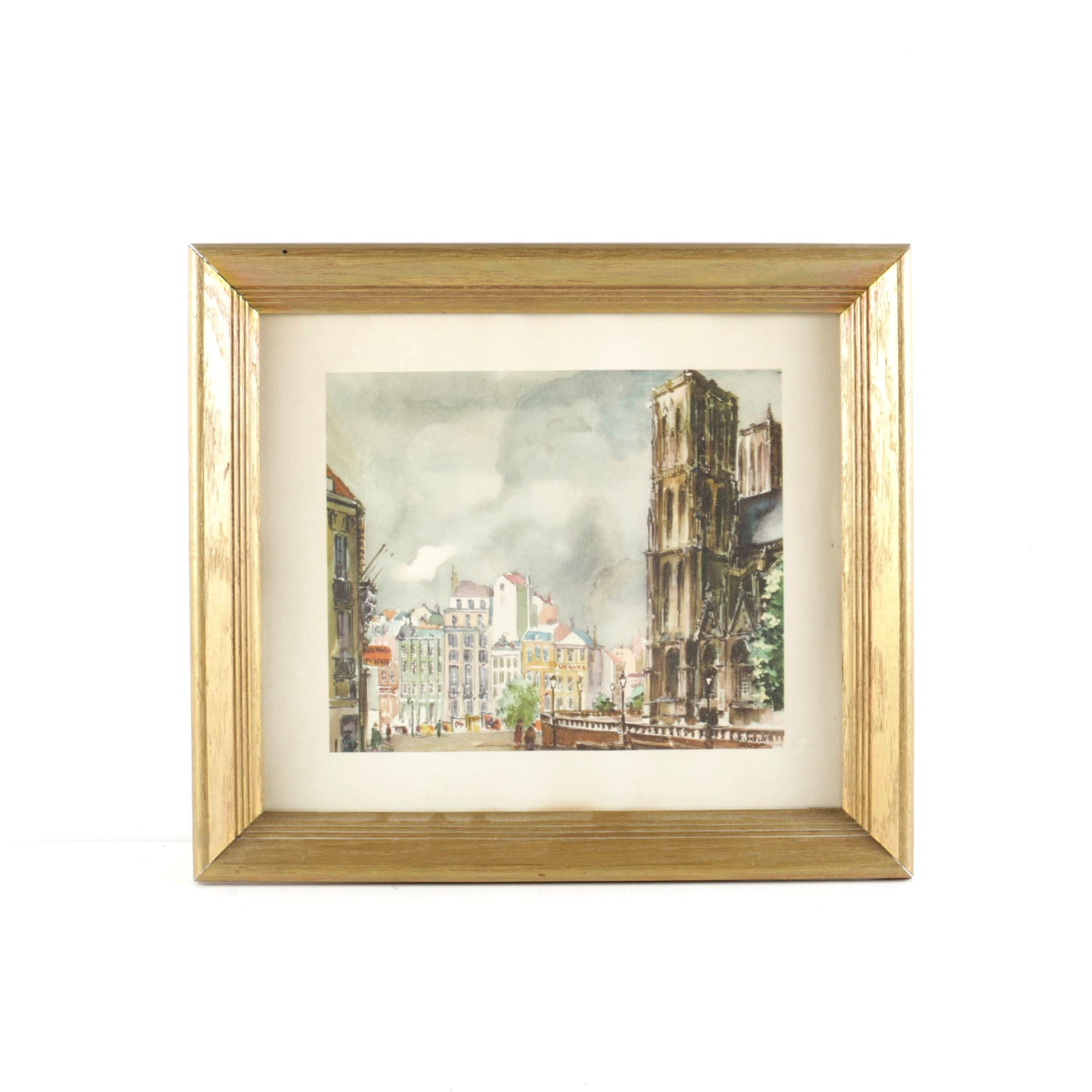 Framed Offset Lithograph After Watercolor of Brussels, Belgium