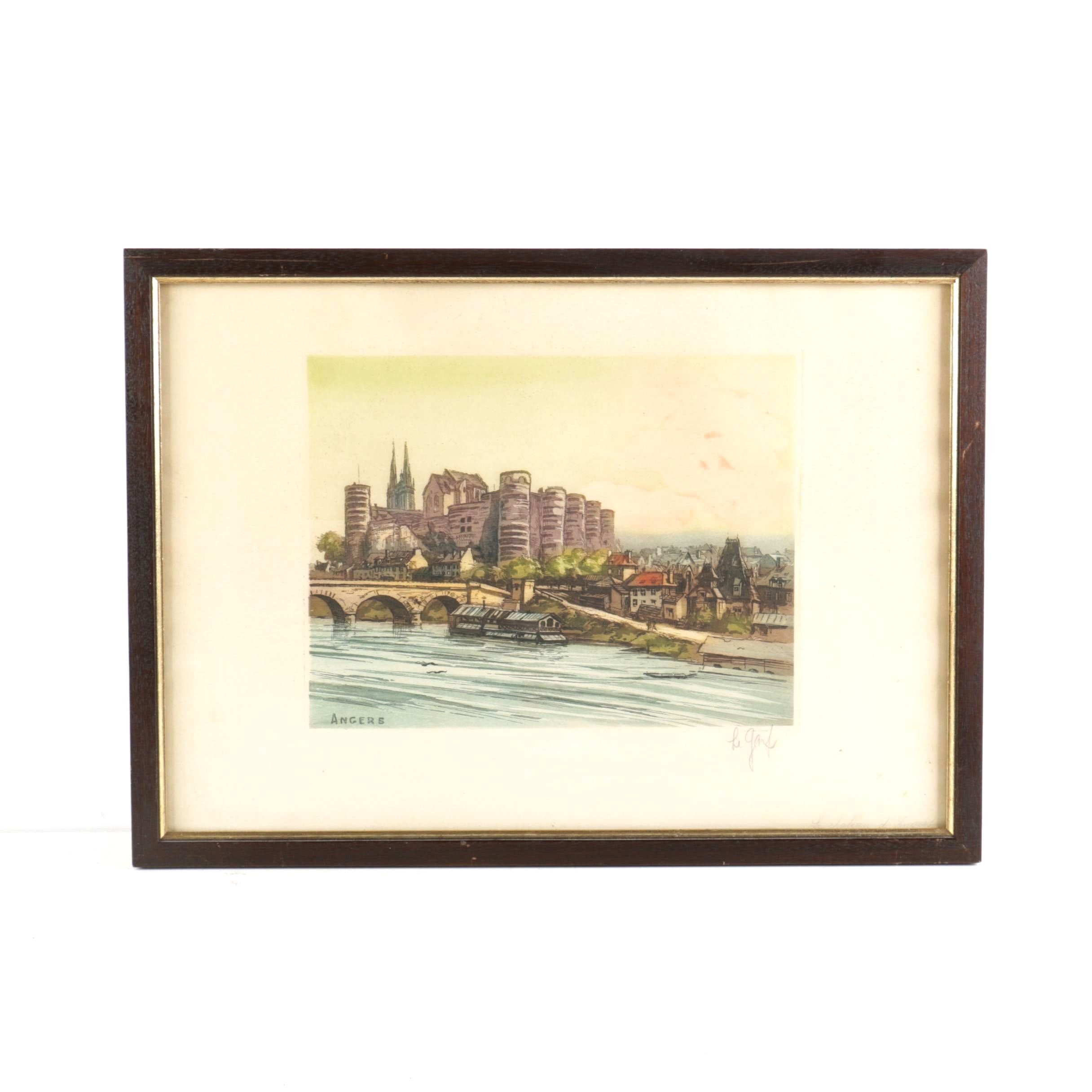 """Signed Etching and Aquatint On Paper """"Le Chateau d'Angers"""""""