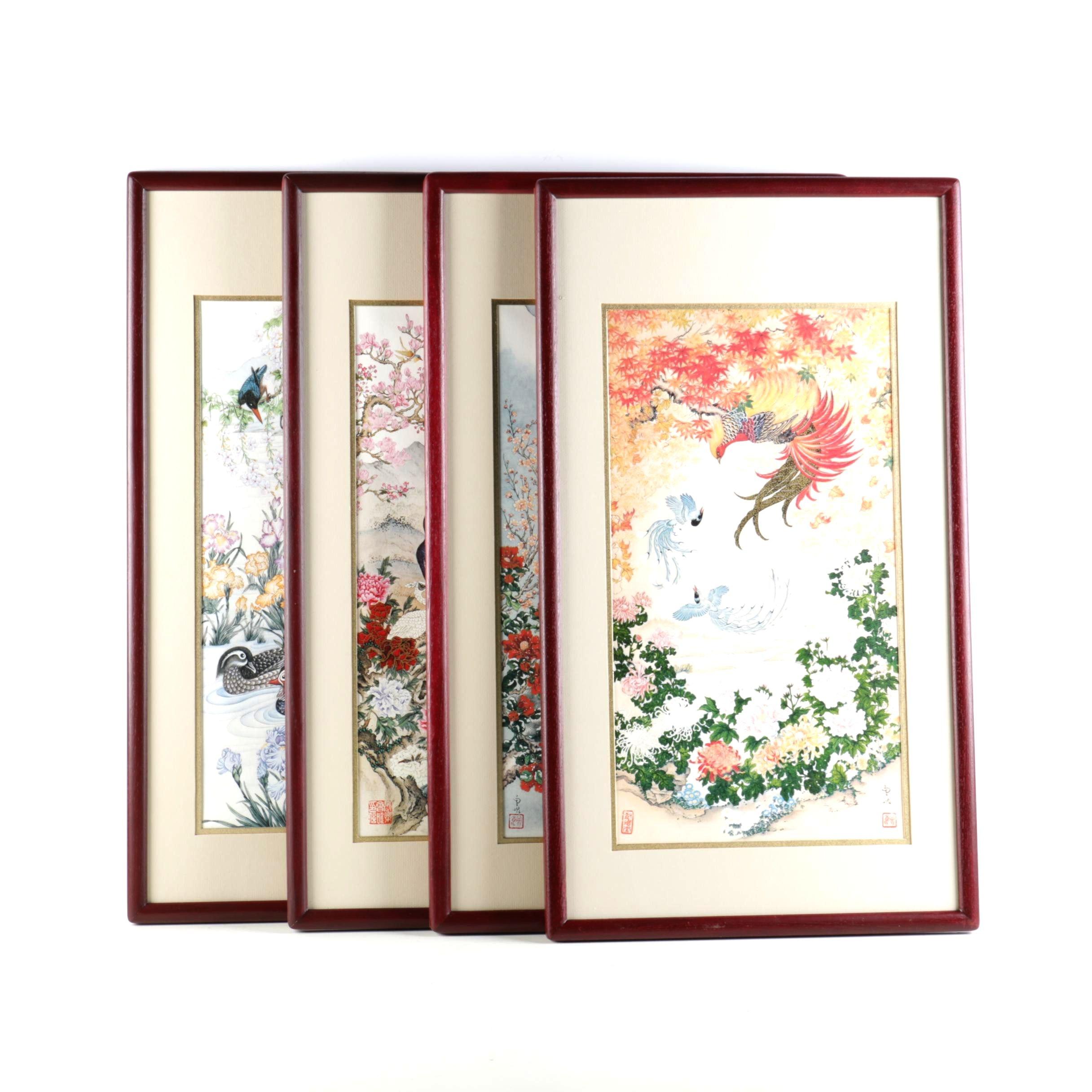Wei Tseng Yang Offset Lithograph Series on Silk