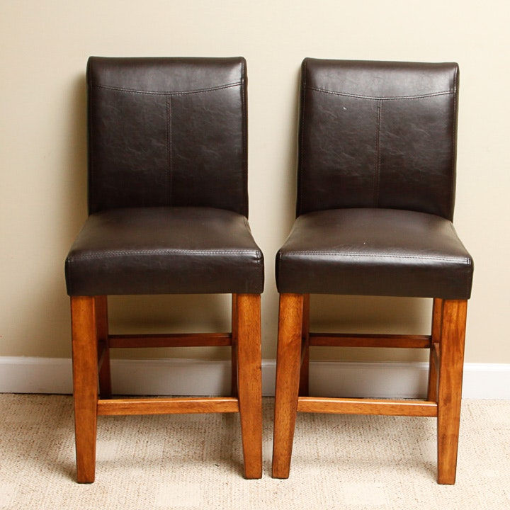 Parsons Style Leather Pub Chairs