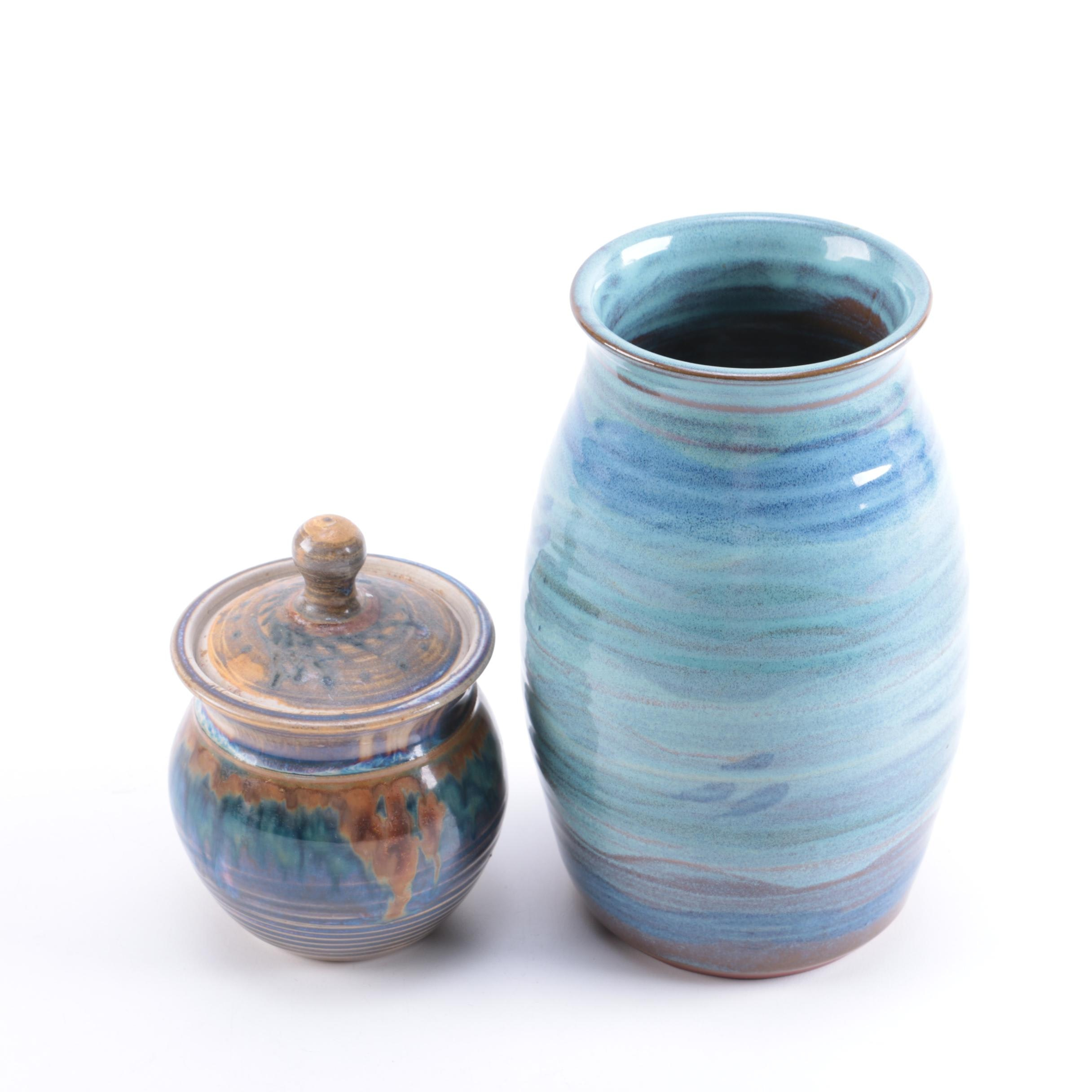 Handmade Pottery Containers, Including Tater Knob Pottery