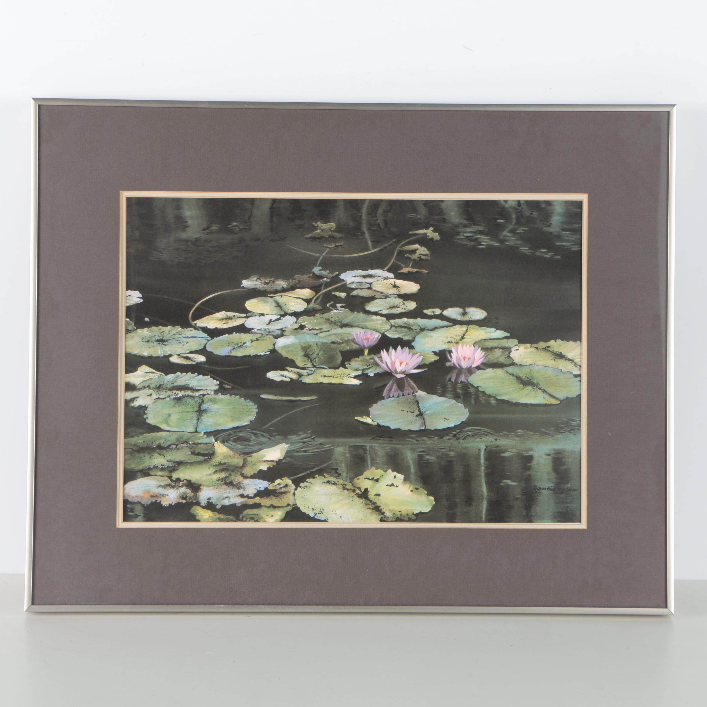 """Offset Lithograph After Robyn Hill """"Waterlilies"""""""