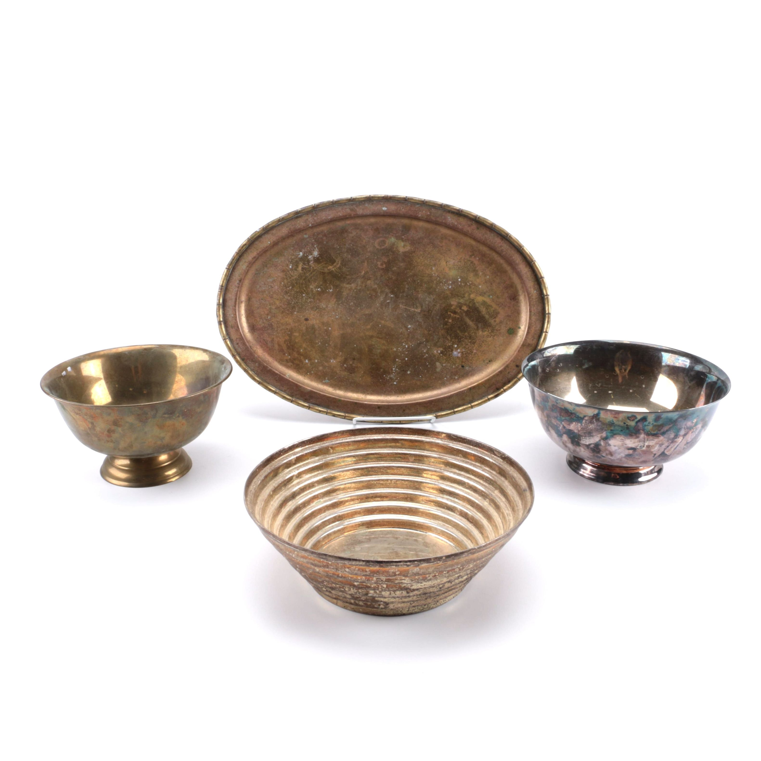 Silverplate Bowls And Brass Tray