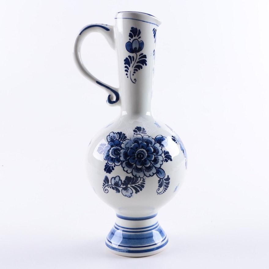Montagne Delft Ceramic Pitcher Vase Ebth