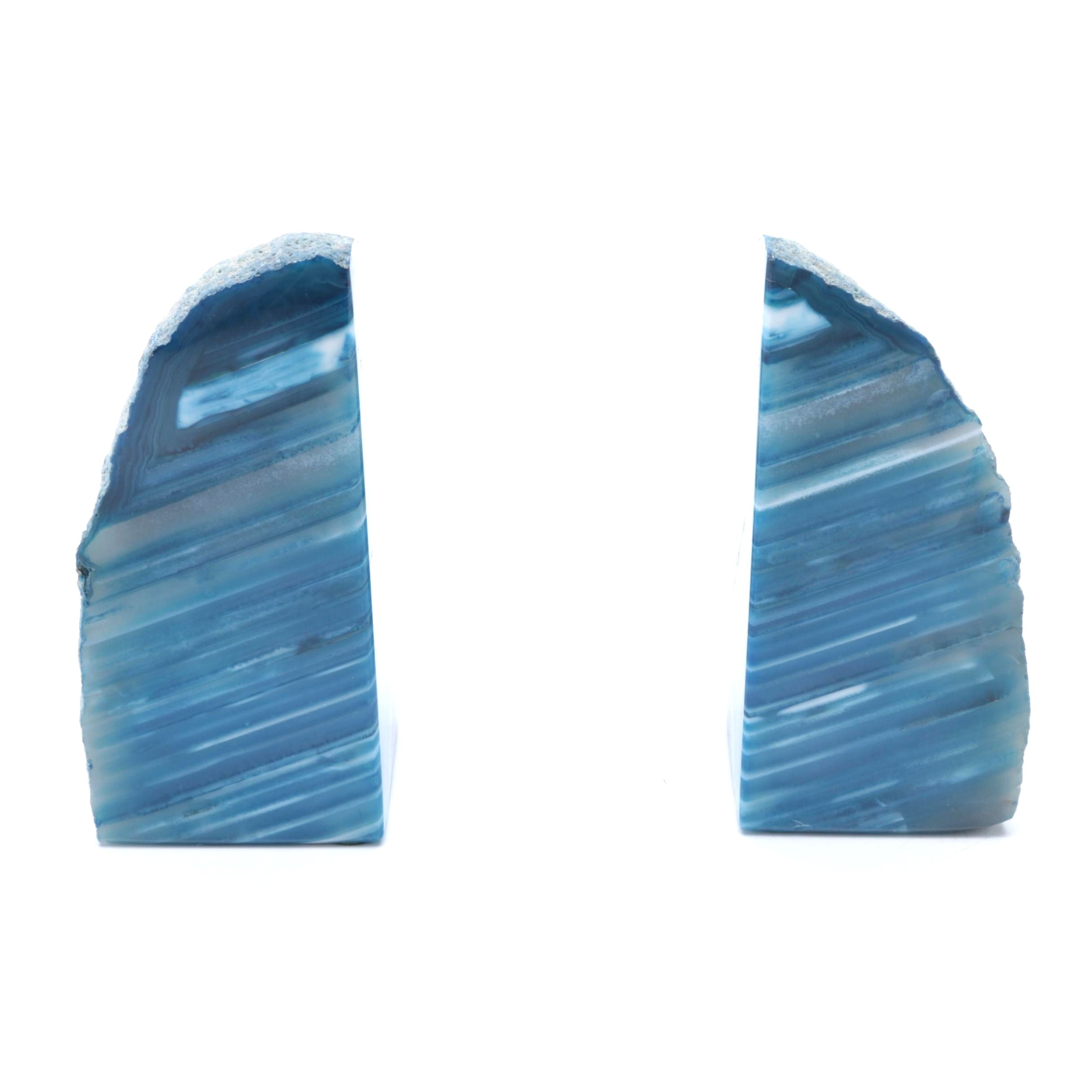 Dyed Blue Agate Bookends