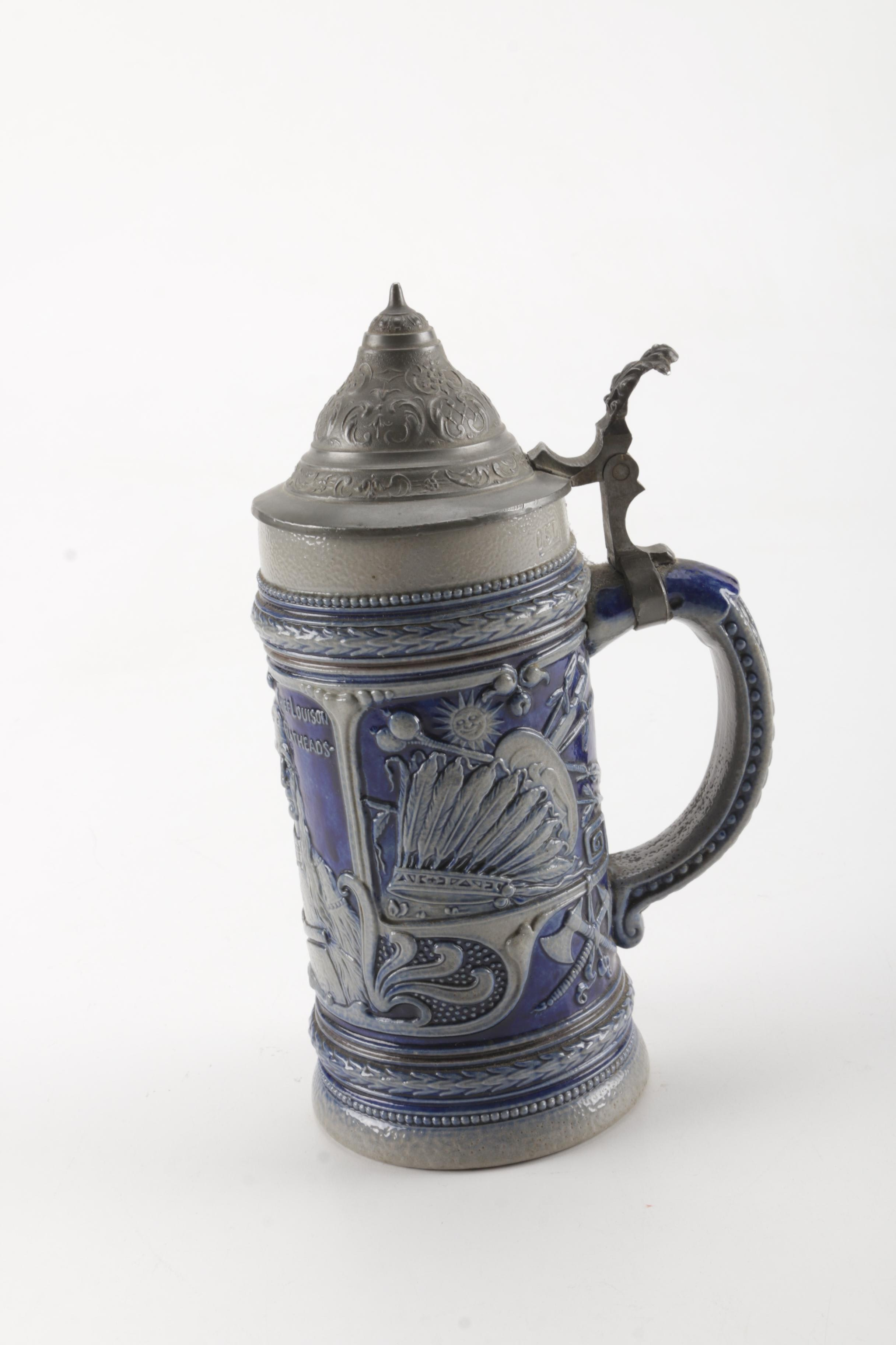 Native American Inspired German Ceramic Beer Stein With