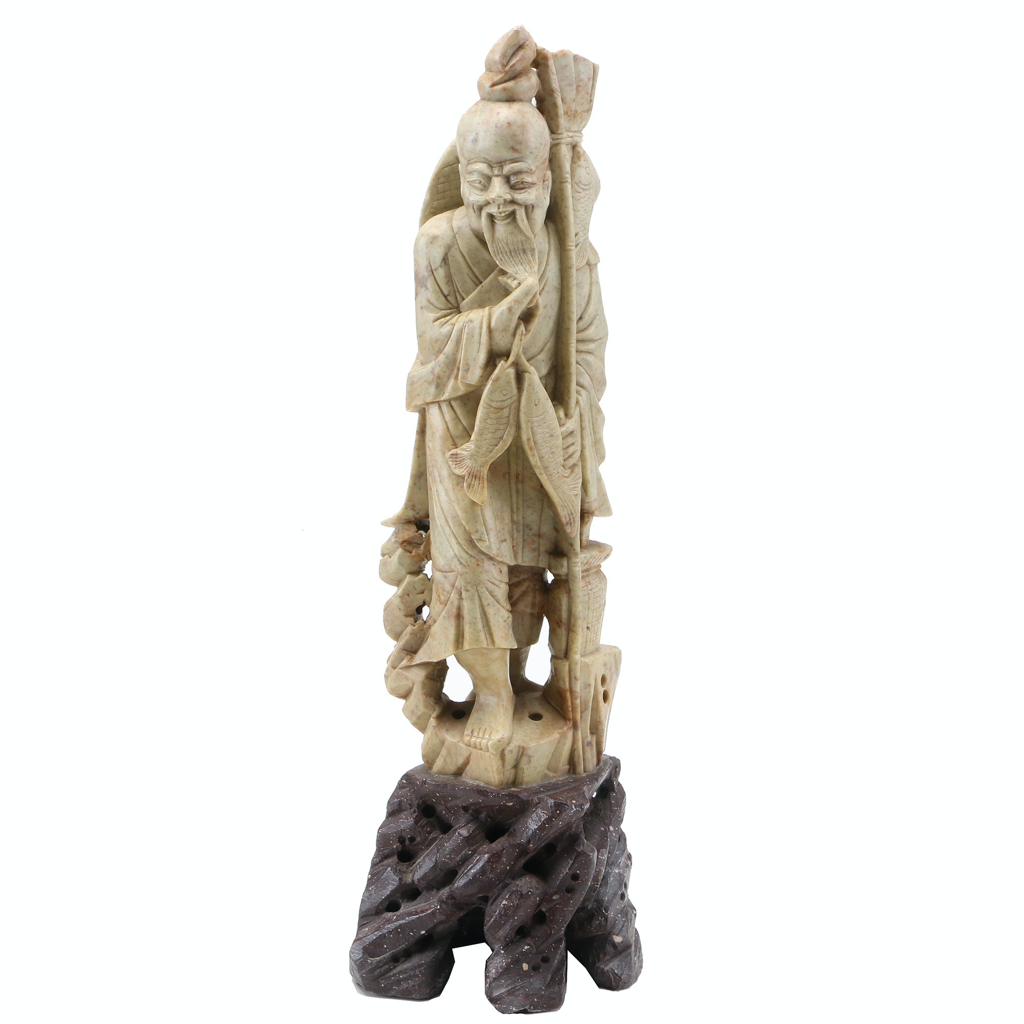 Chinese Carved Soapstone Figure of Fisherman