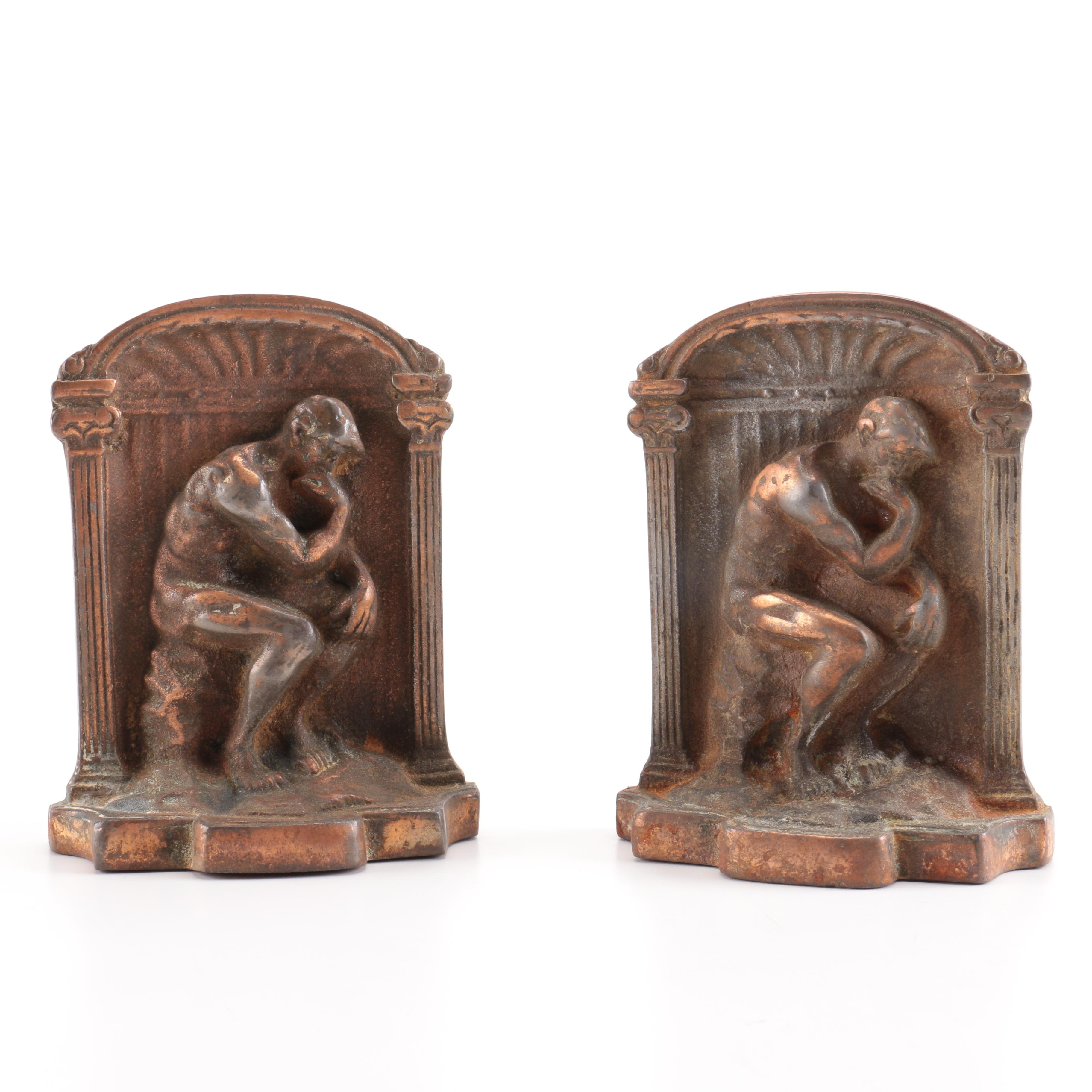 """Bronze Bookends With Relief After Rodin's Sculpture """"The Thinker"""""""