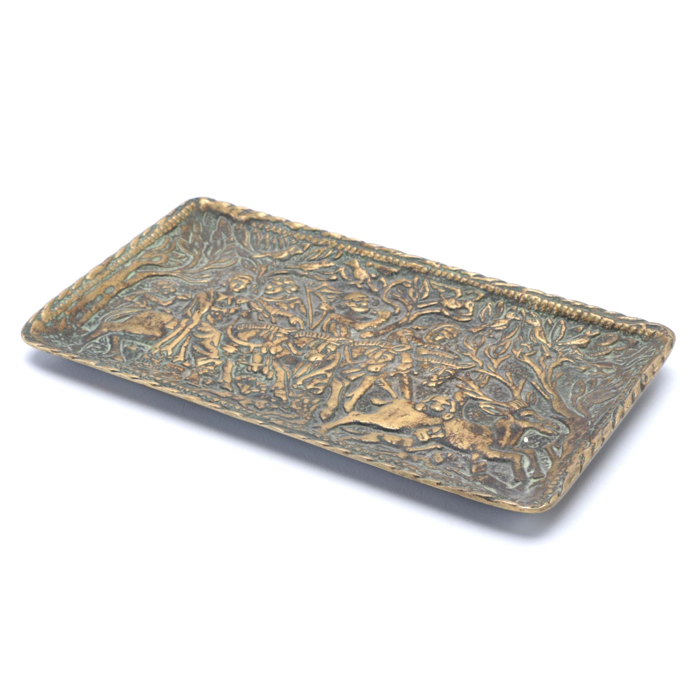 """Max Leverrier Brass Bas Relief """"Chasse au Moyen-age"""""""
