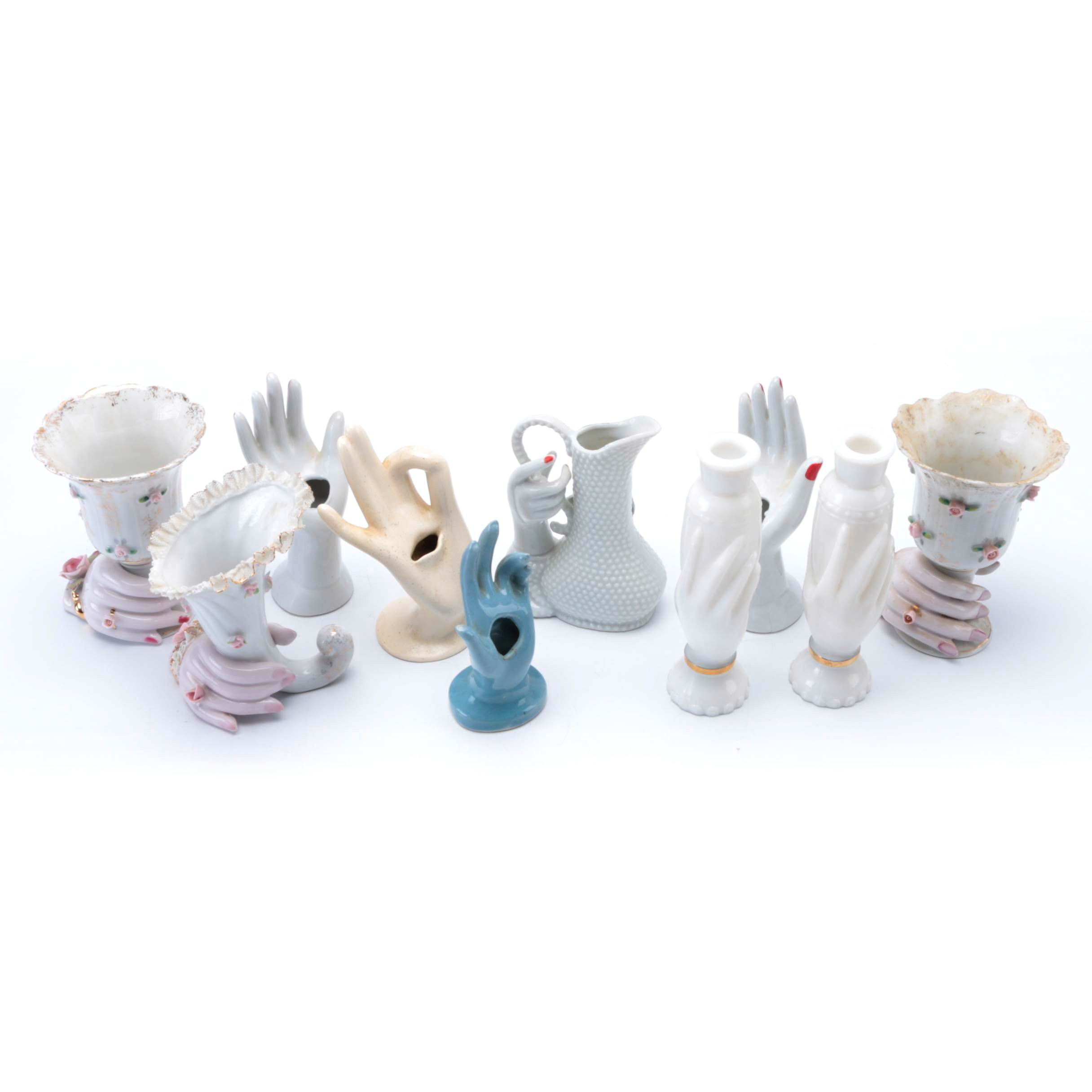 Collection of Hand Shaped Ceramic Vases