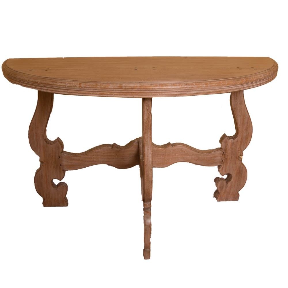 French Provincial Style Demilune Console Table
