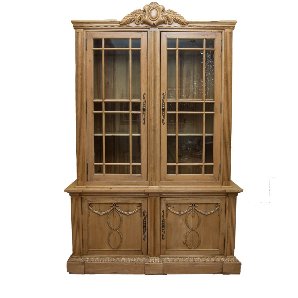 French Style Carved Pine China Cabinet By Robb U0026 Stucky ...