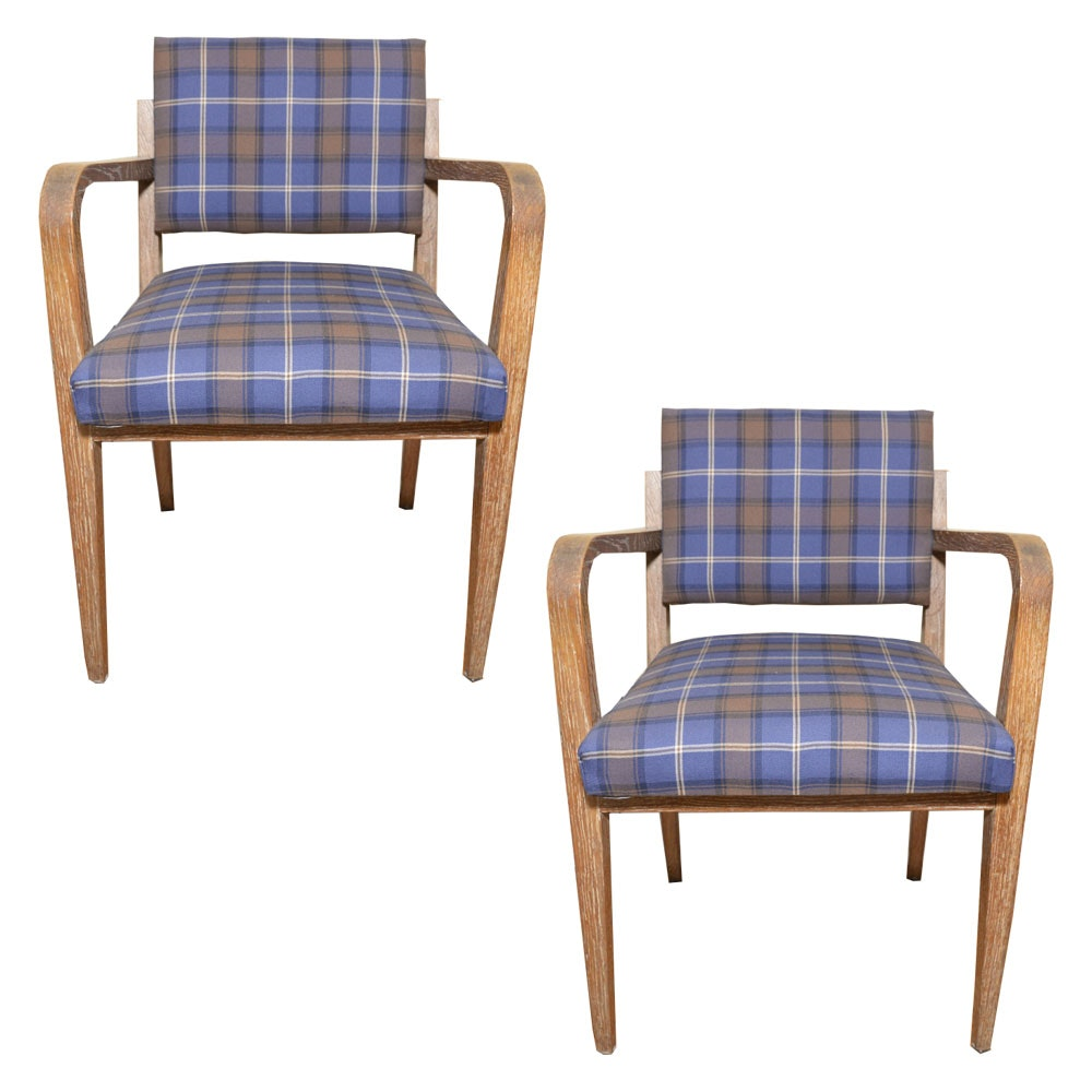 Pair of Plaid Mid Century Modern Armchairs