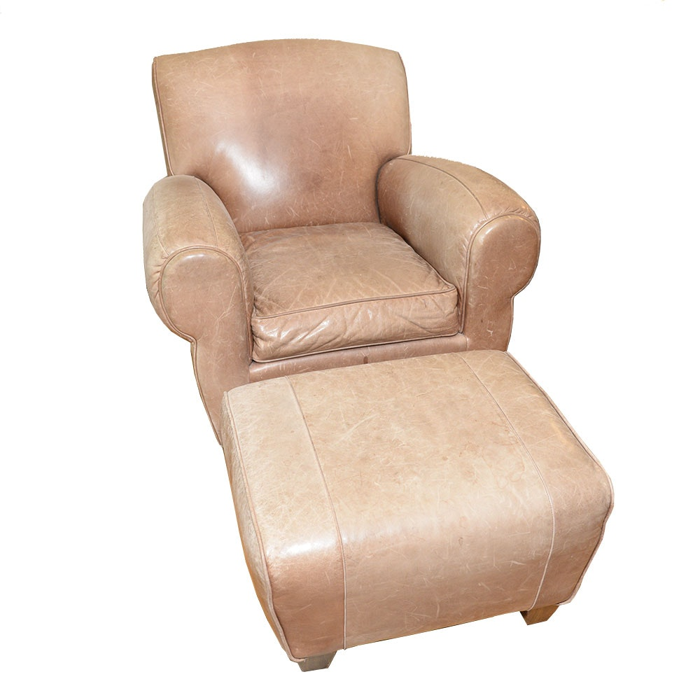 Overstuffed Leather Chair With Footstool ...