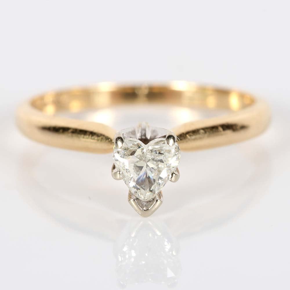 14K Yellow Gold Heart-Shaped Diamond Ring