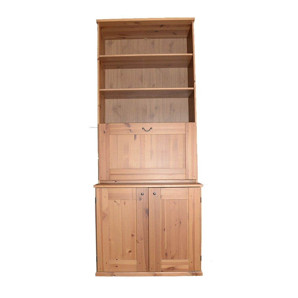 Pine Fall-Front Secretary Bookshelf