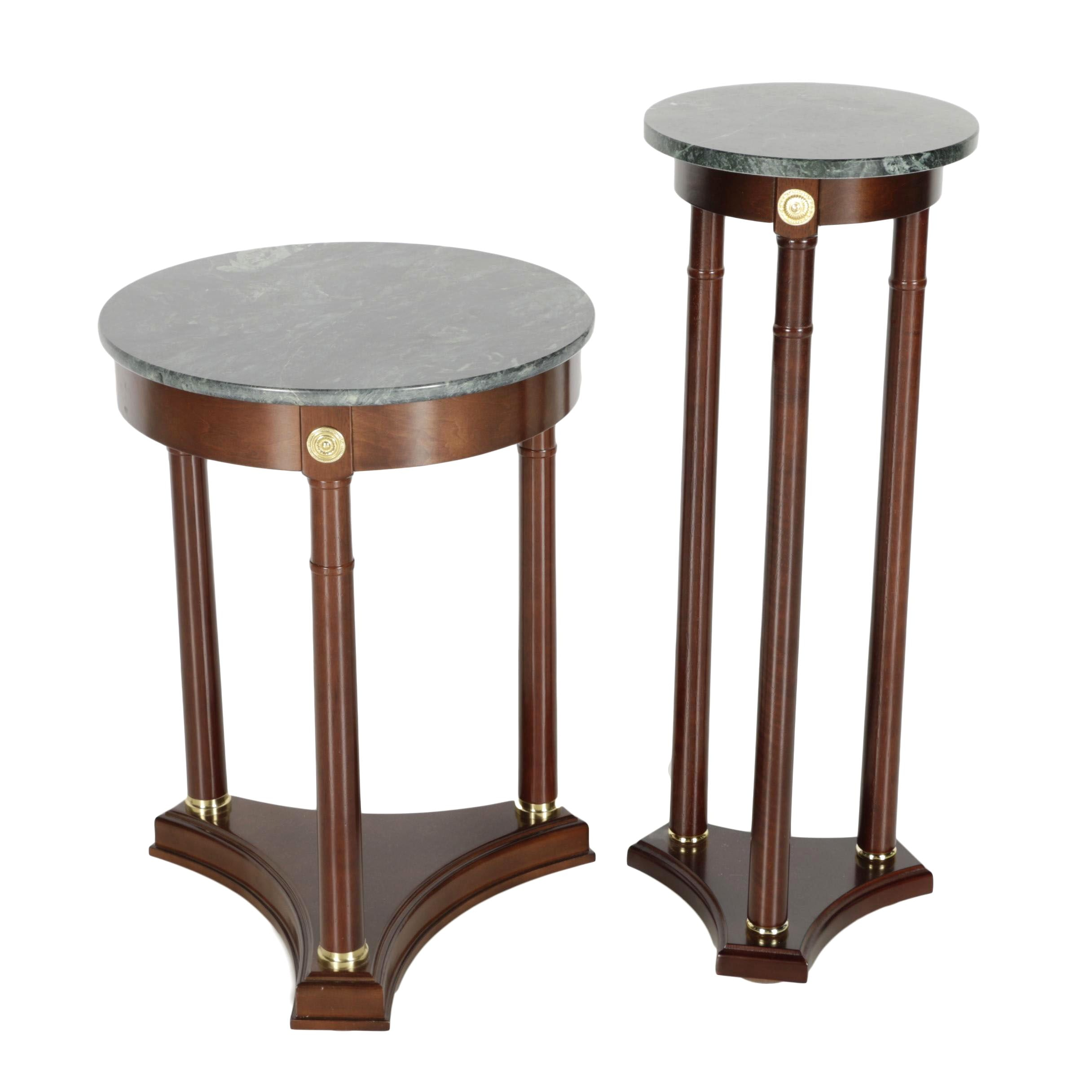 Marble Top Side Table and Plant Stand
