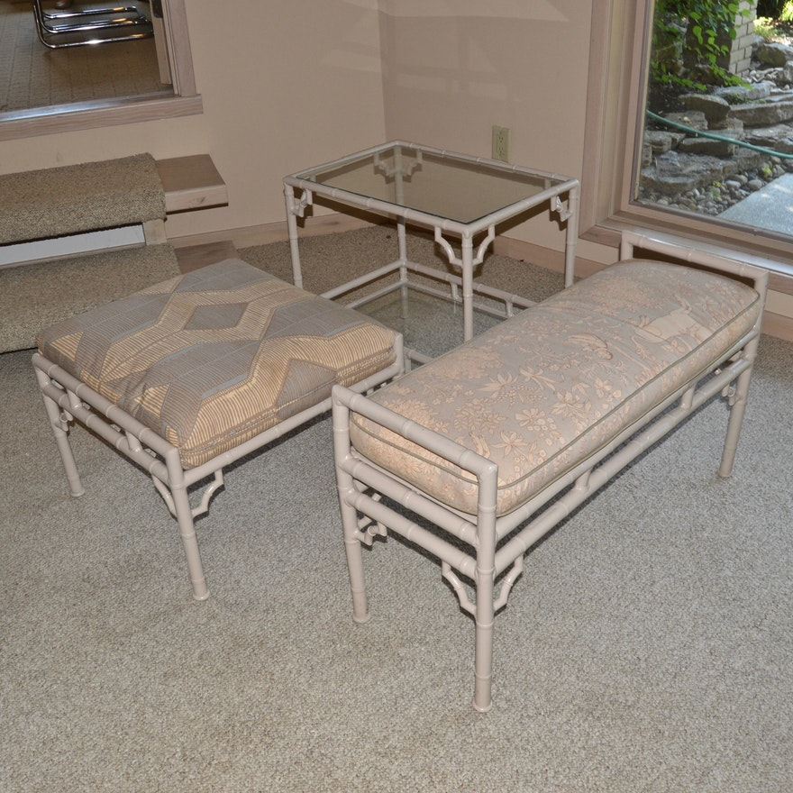 Vintage Faux Bamboo Outdoor Furniture By Meadowcraft