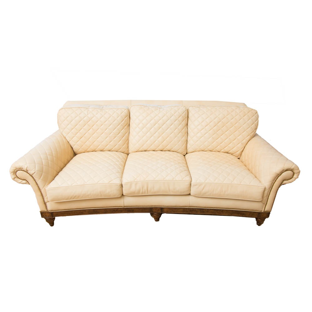 Ivory Leather Sofa by Hancock & Moore