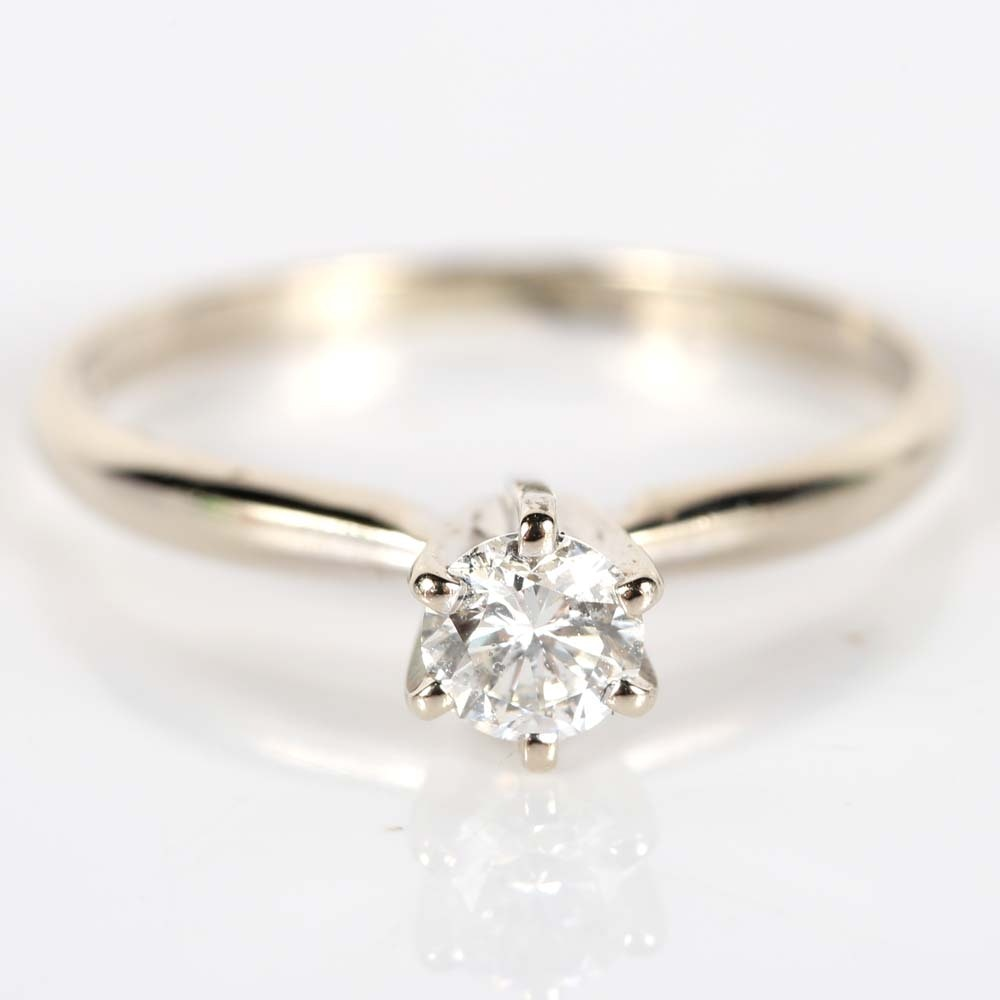 14K White Gold Round Brilliant Diamond Ring in a Six-Prong High Setting