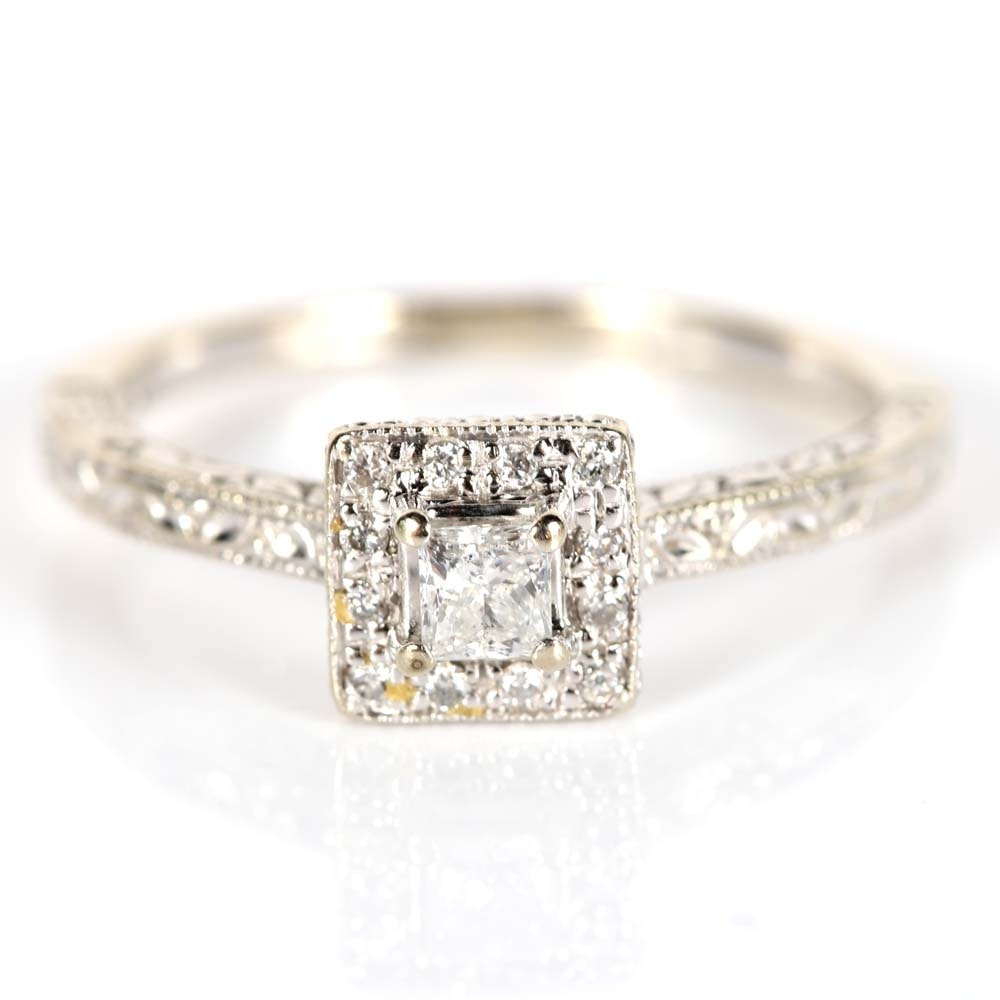 10K White Gold Princess Cut Diamond Halo Ring