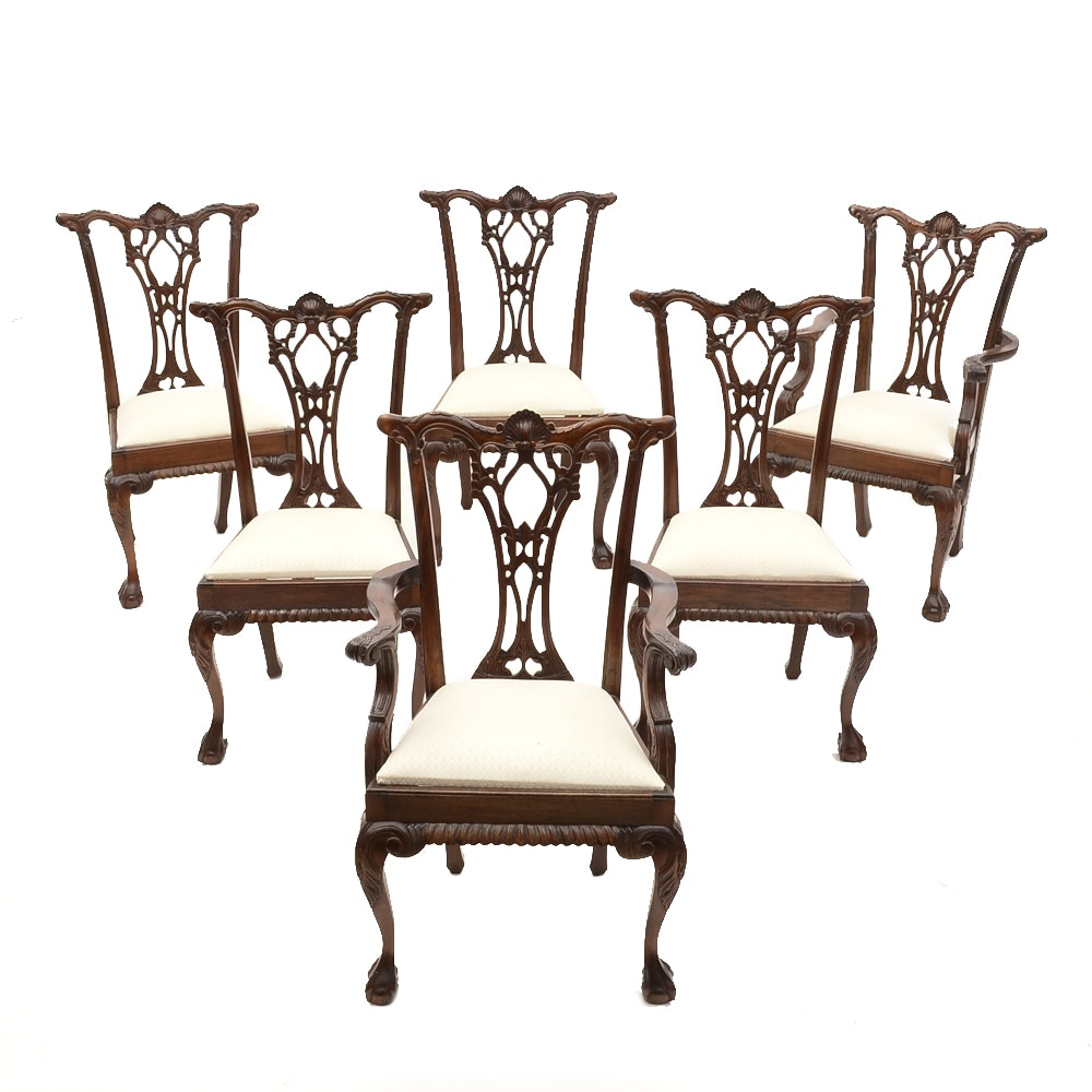 Set of Six Chippendale Style Dining Chairs