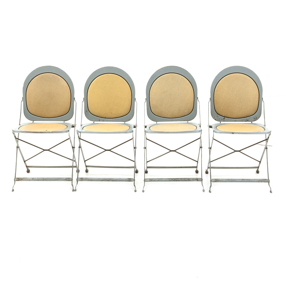 """Art Deco """"Hostess"""" Metal Folding Chairs by Brewer-Titchener"""