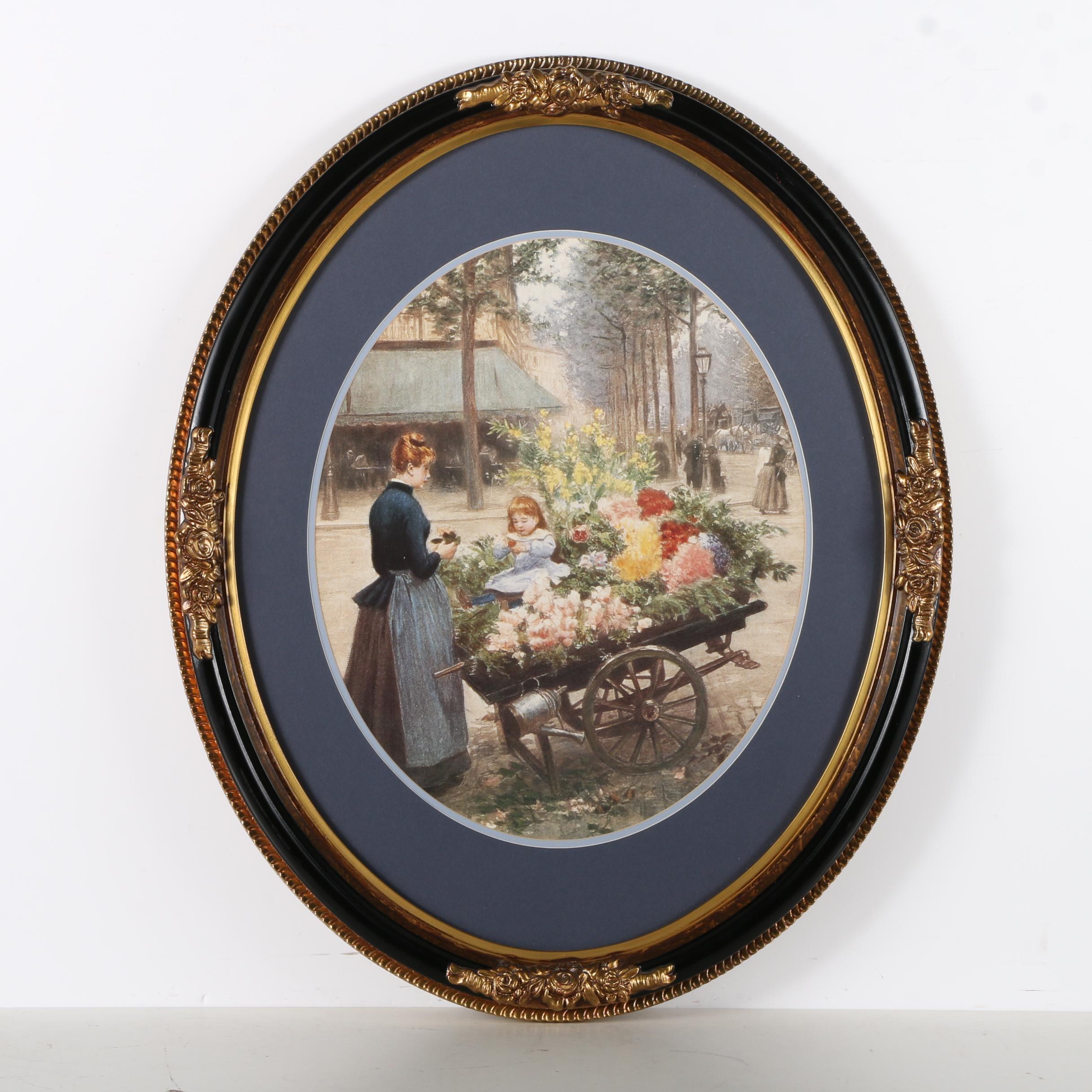 """Offset Lithograph after Victor Gabriel Gilbert """"Flower Cart"""""""