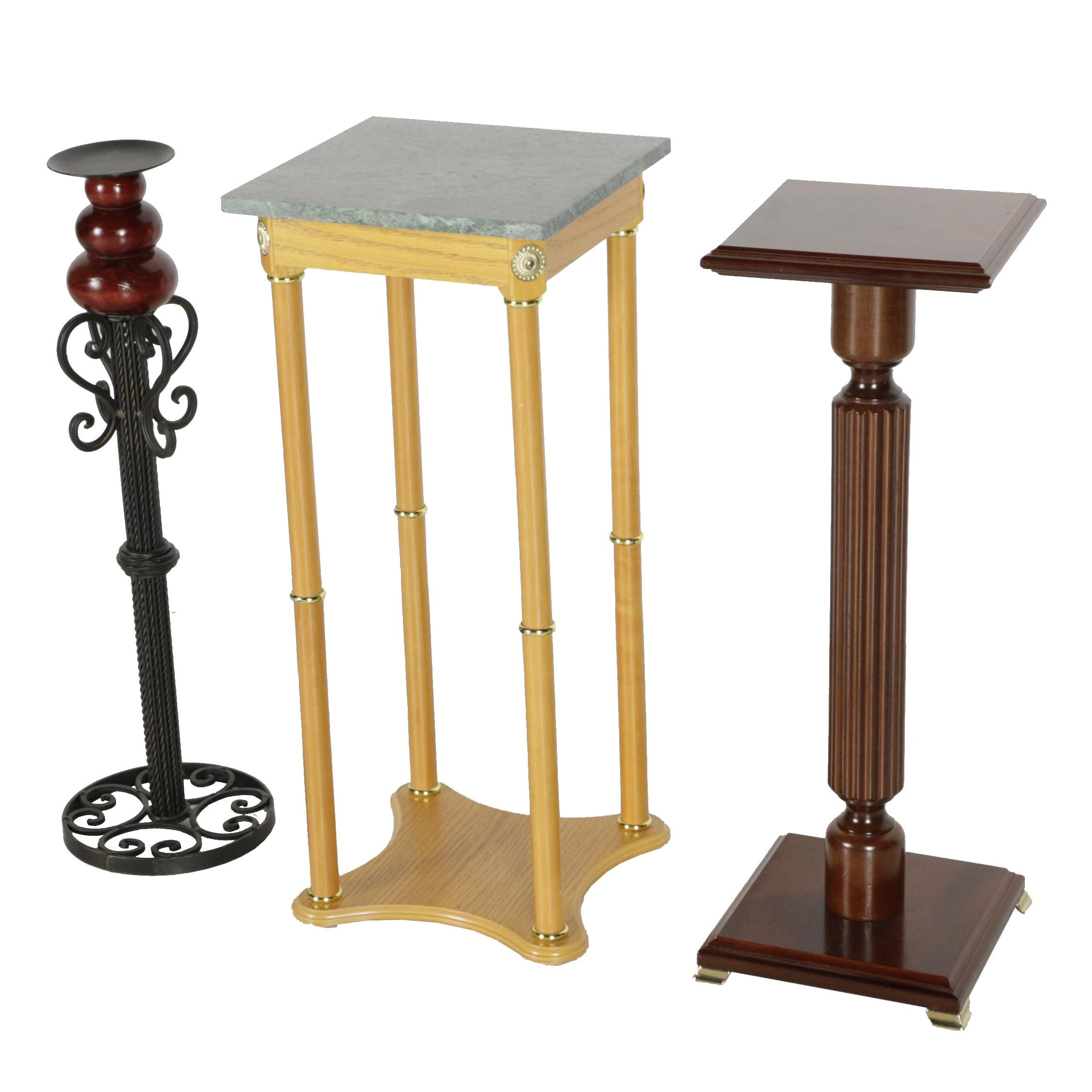 Marble Top Side Table With Pedestal Side Table and Candle Stand