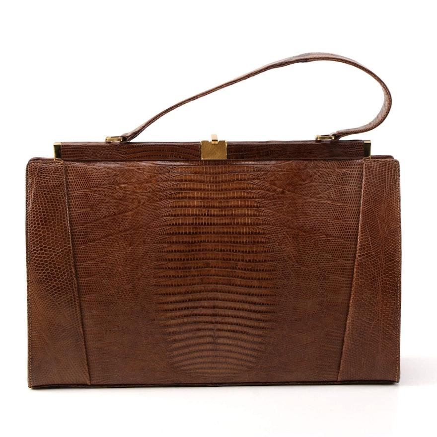 Vintage Lizard Skin Handbag By Bag