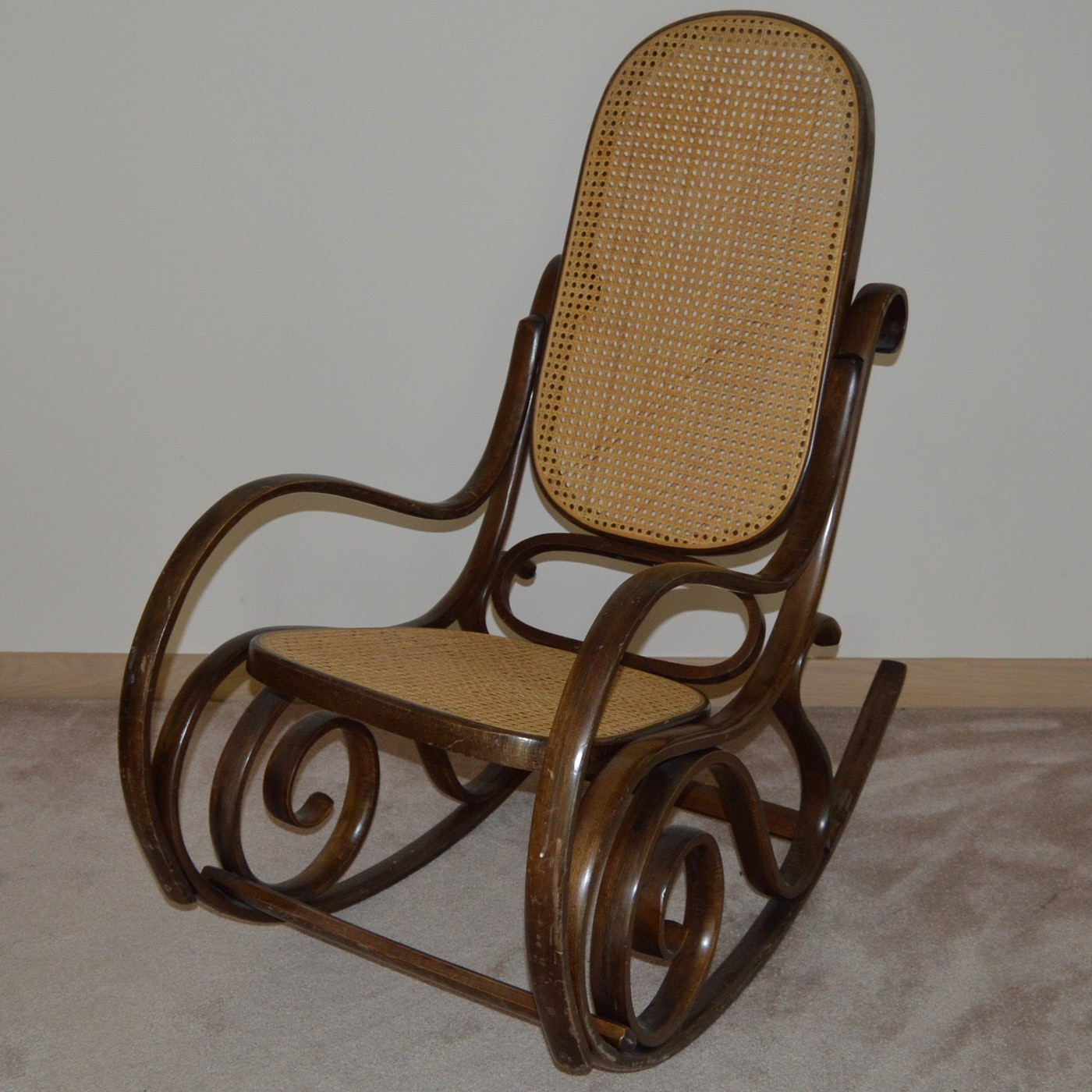 Thonet Style Bentwood Cane Rocking Chair Ebth