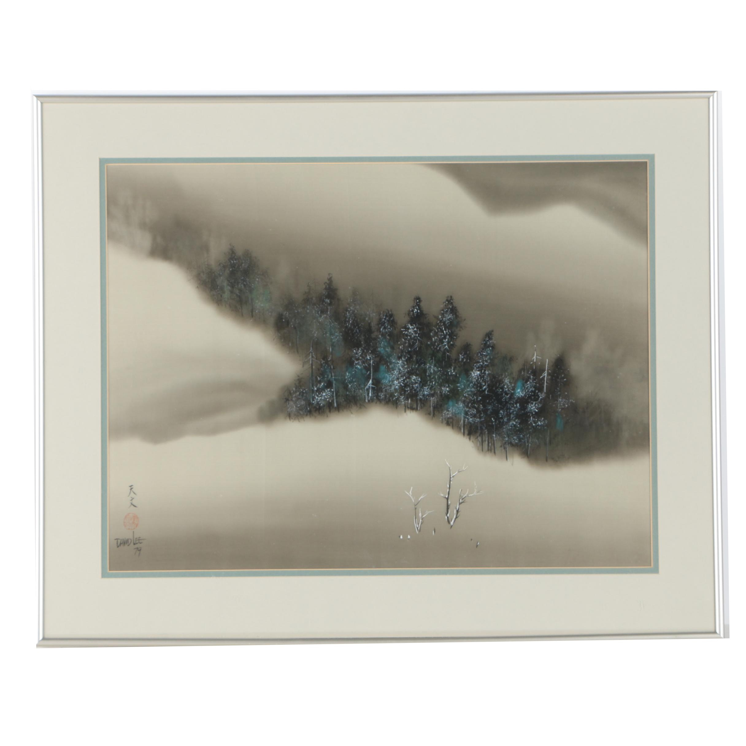 David Lee Gouache and Watercolor Landscape Painting on Silk