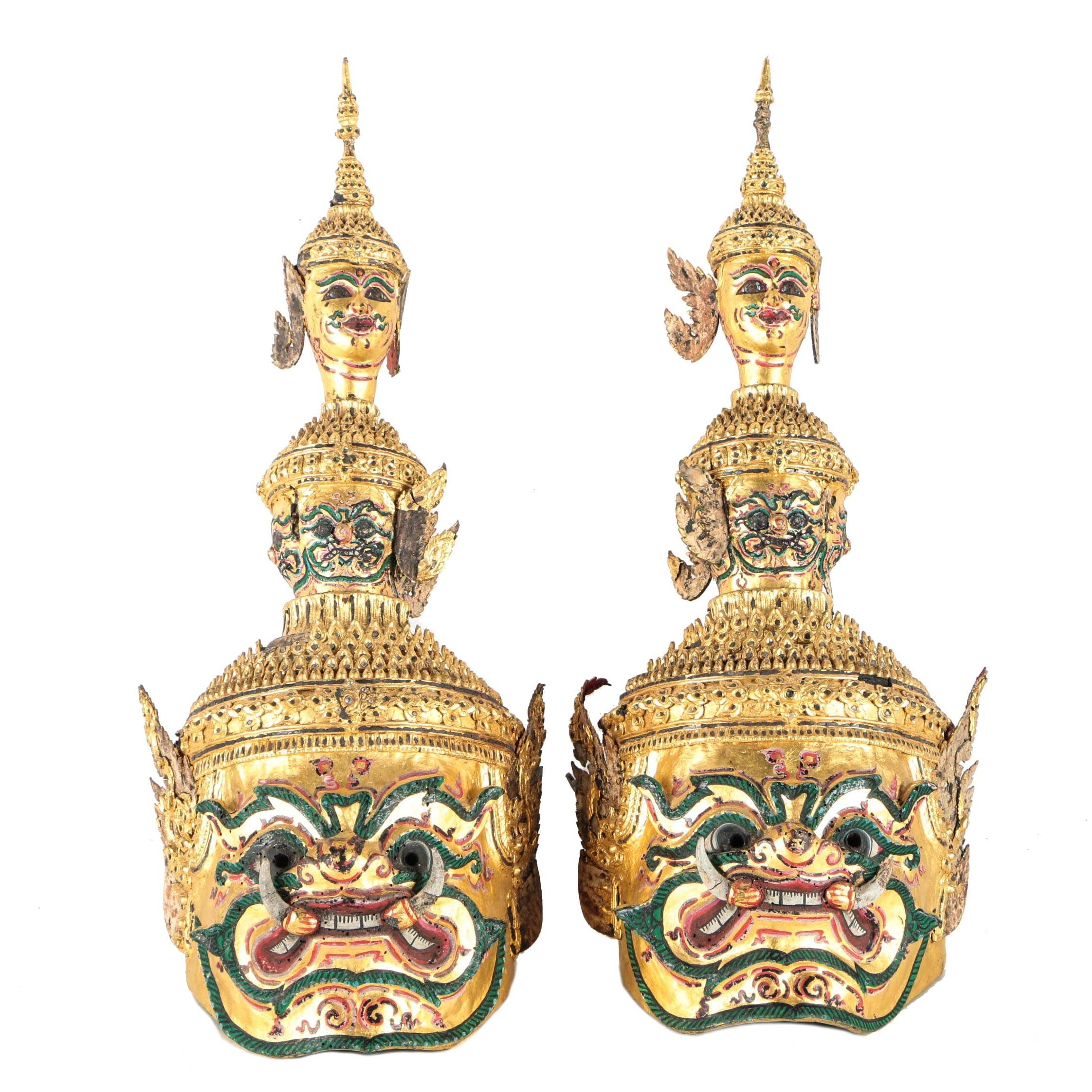 Thai Painted Papier-mâché Khon Masks