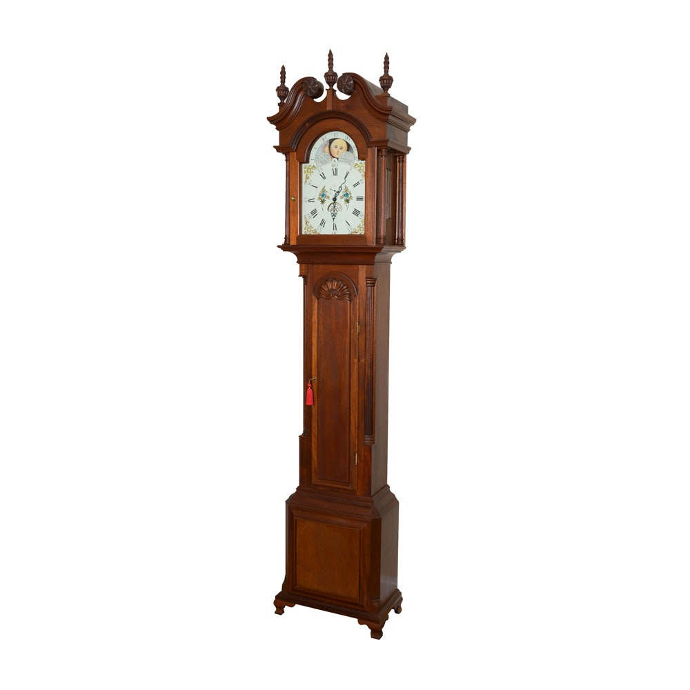 Contemporary Benchmade Mahogany Grandfather Clock in the Manner of the Goddard School