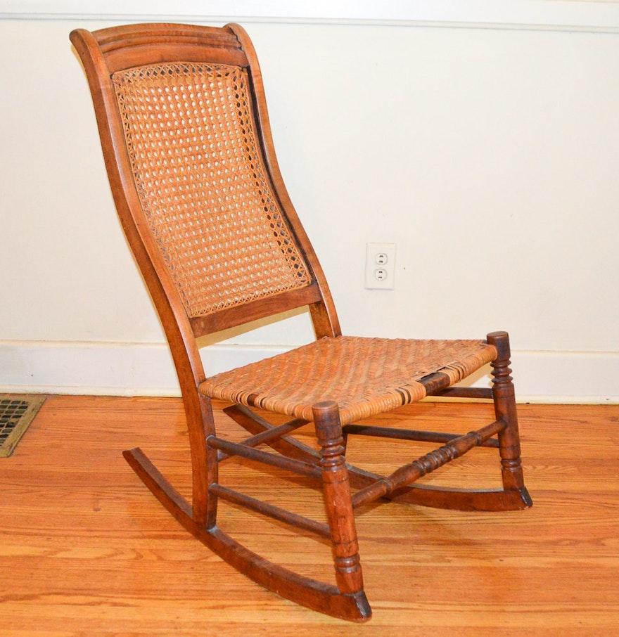 Vintage cane rocking chair - Vintage Cane Rocking Chair