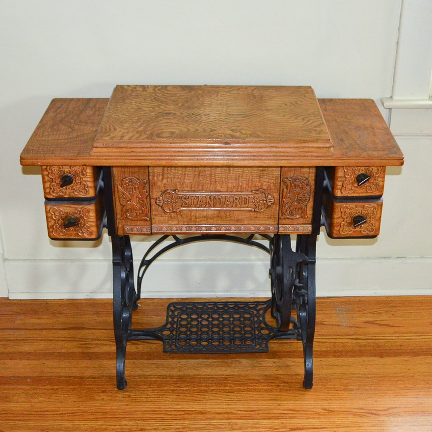 Antique Standard Sewing Machine And Table EBTH Classy Standard Sewing Machine