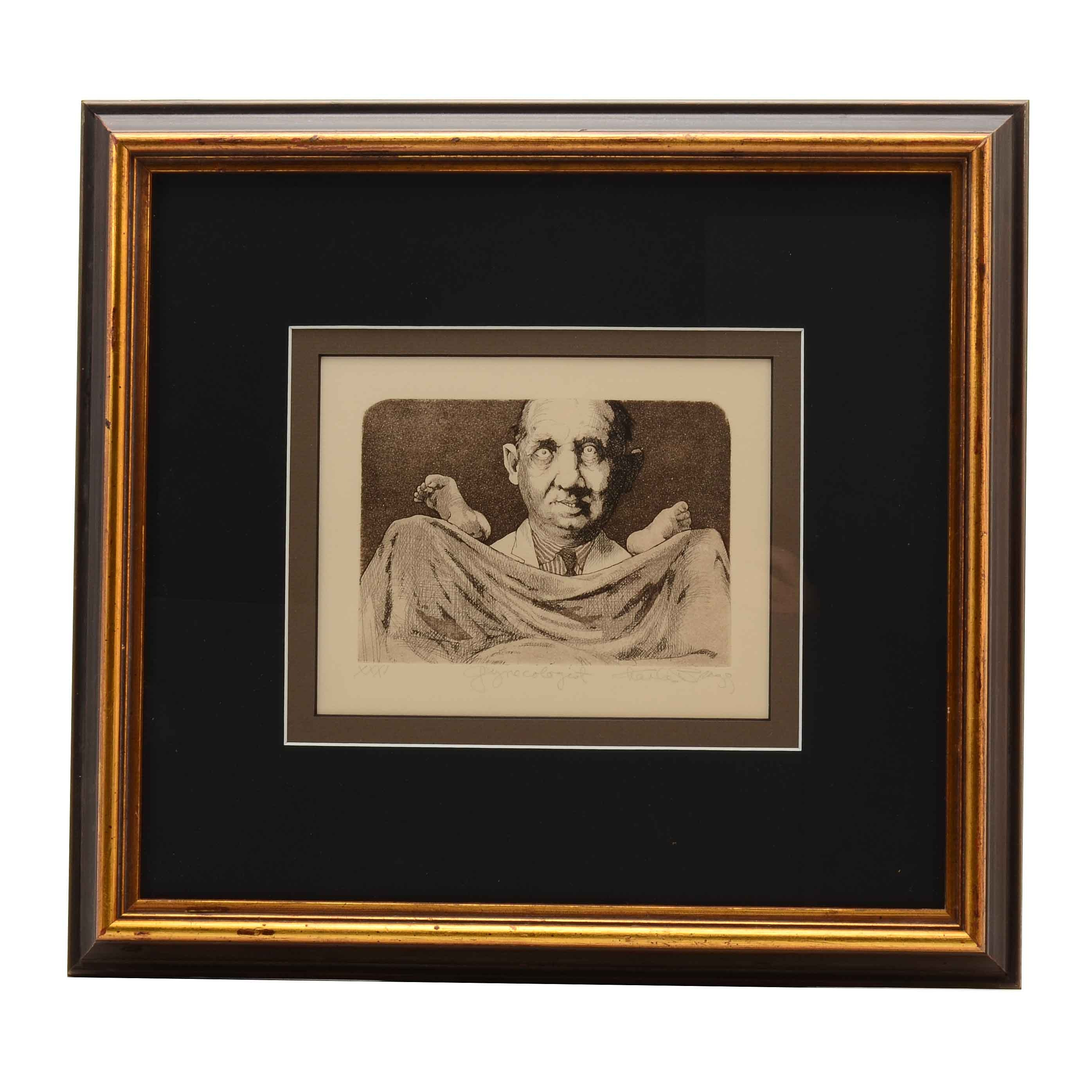 """Charles Bragg Signed Limited Edition Aquatint Etching """"Gynocologist"""""""