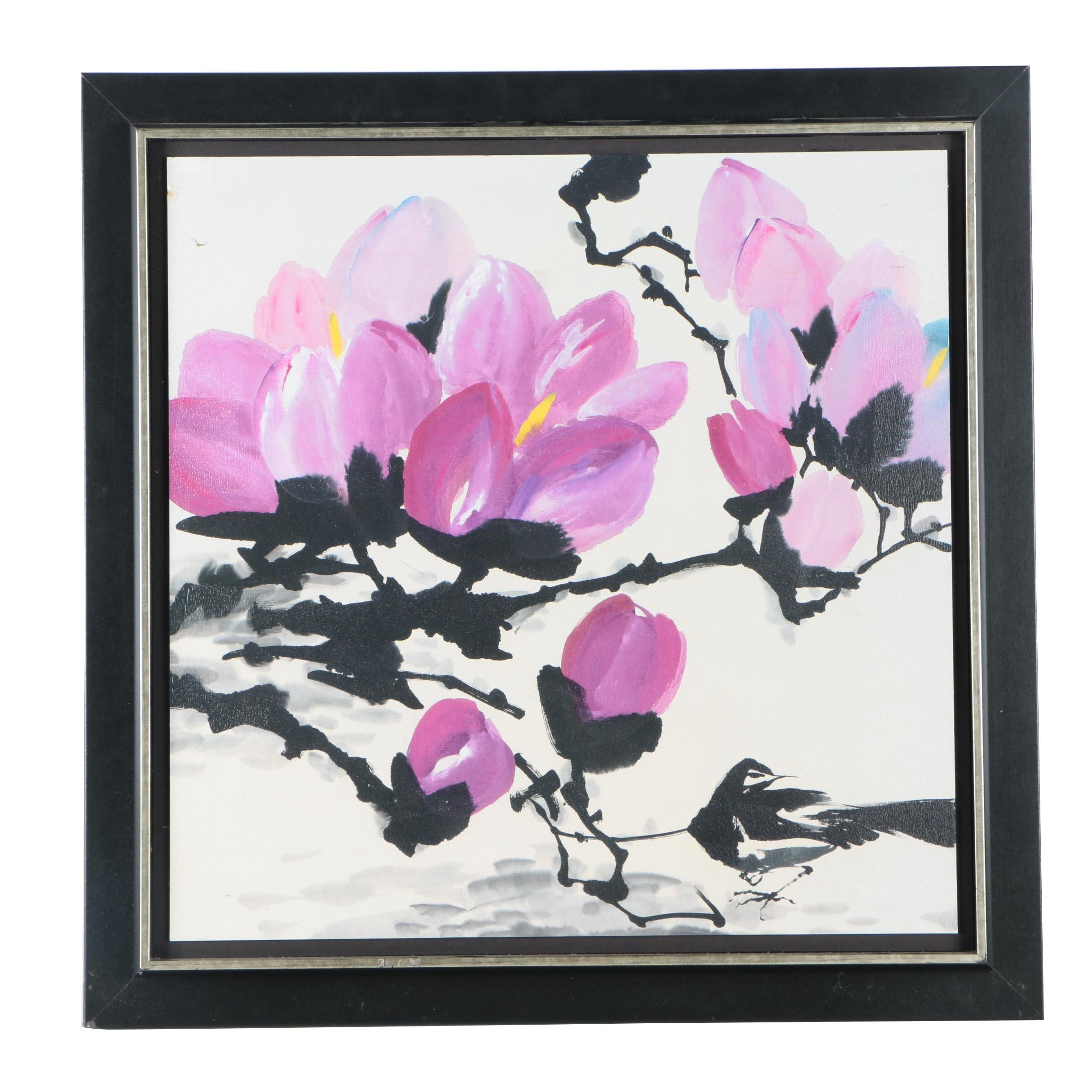 Offset Lithograph of Floral Branches