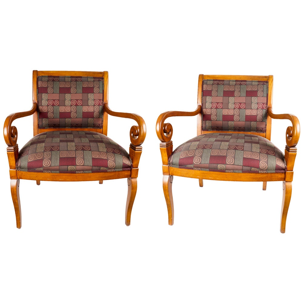 Pair of Ethan Allen Contemporary Upholstered Armchairs