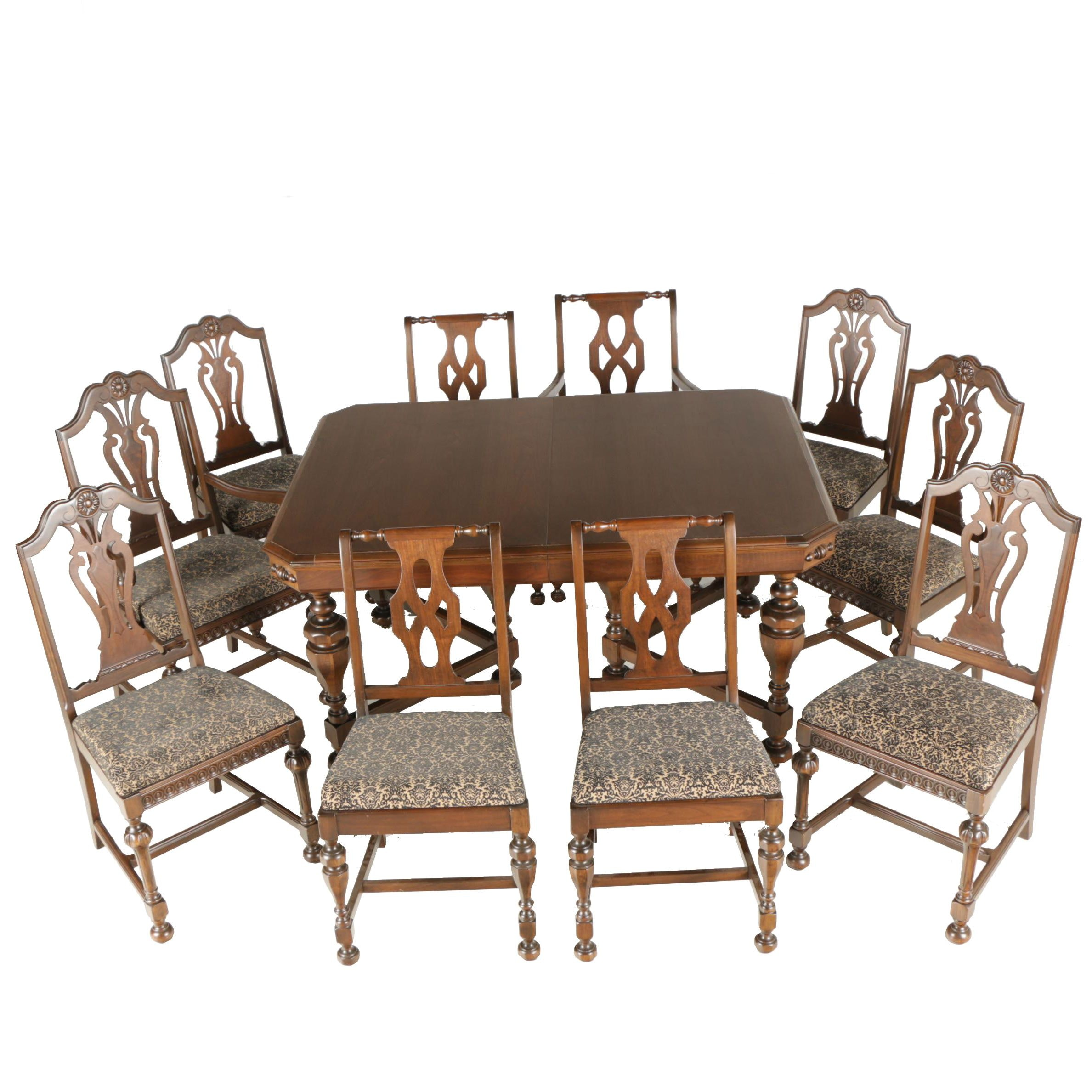 William And Mary Style Dining Table And Chairs ...