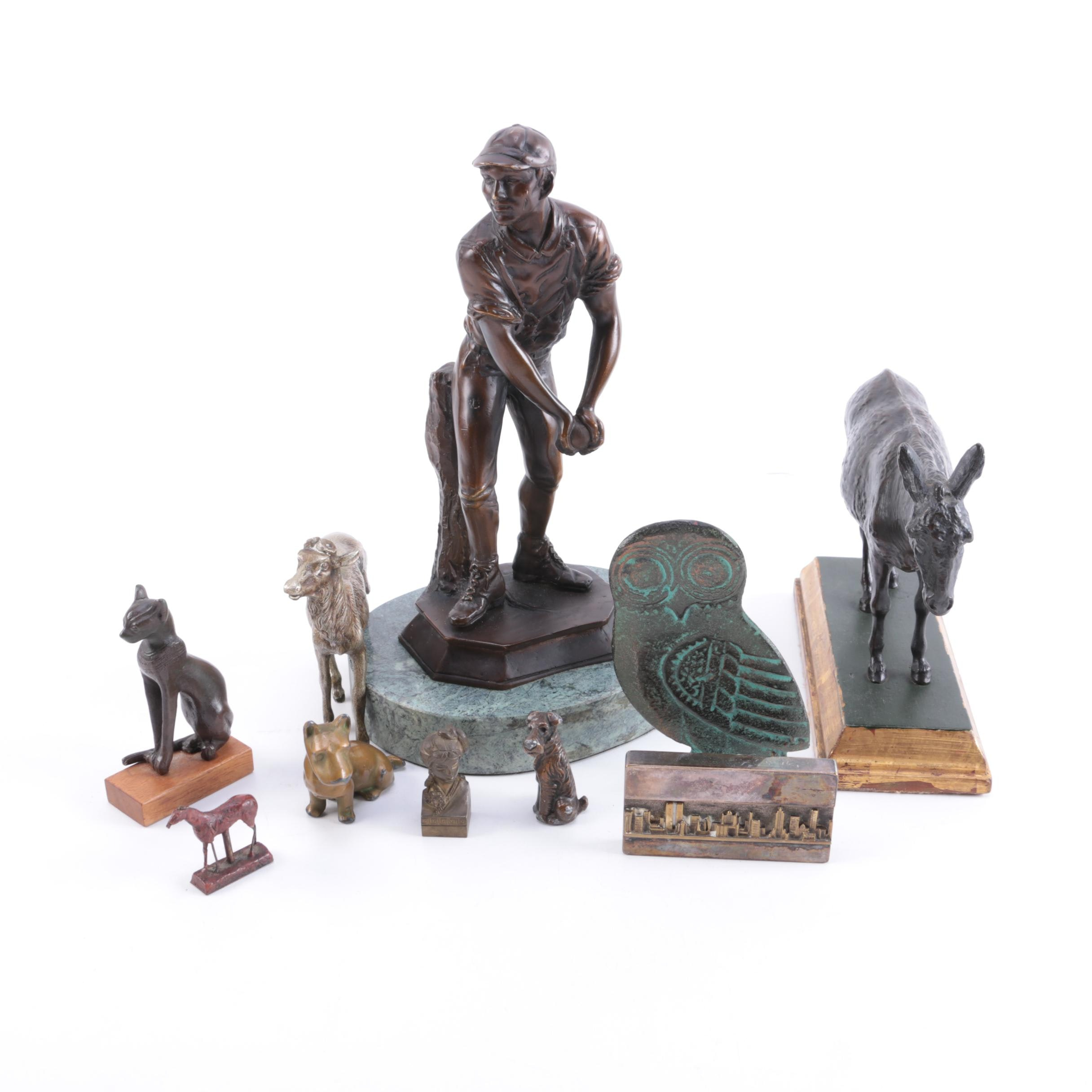 Assorted Brass and Wood Figurines