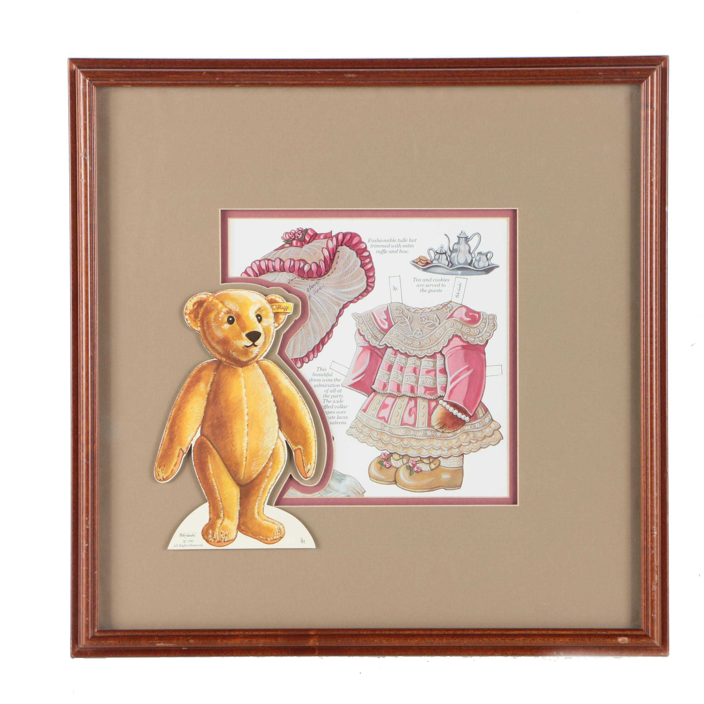 Steiff Bear Paper Doll Offset Lithograph