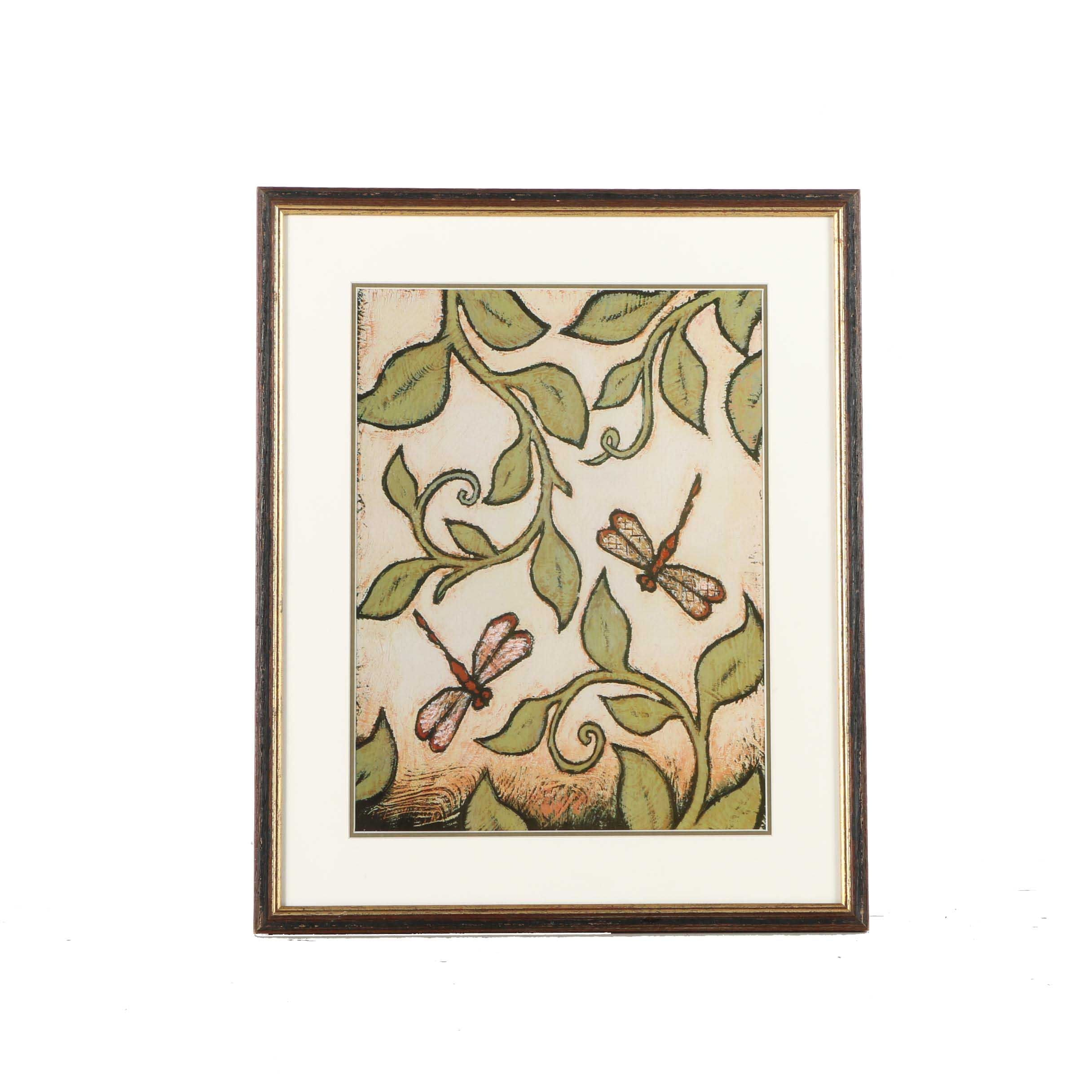 Offset Lithograph on Paper of Dragonflies and Flora