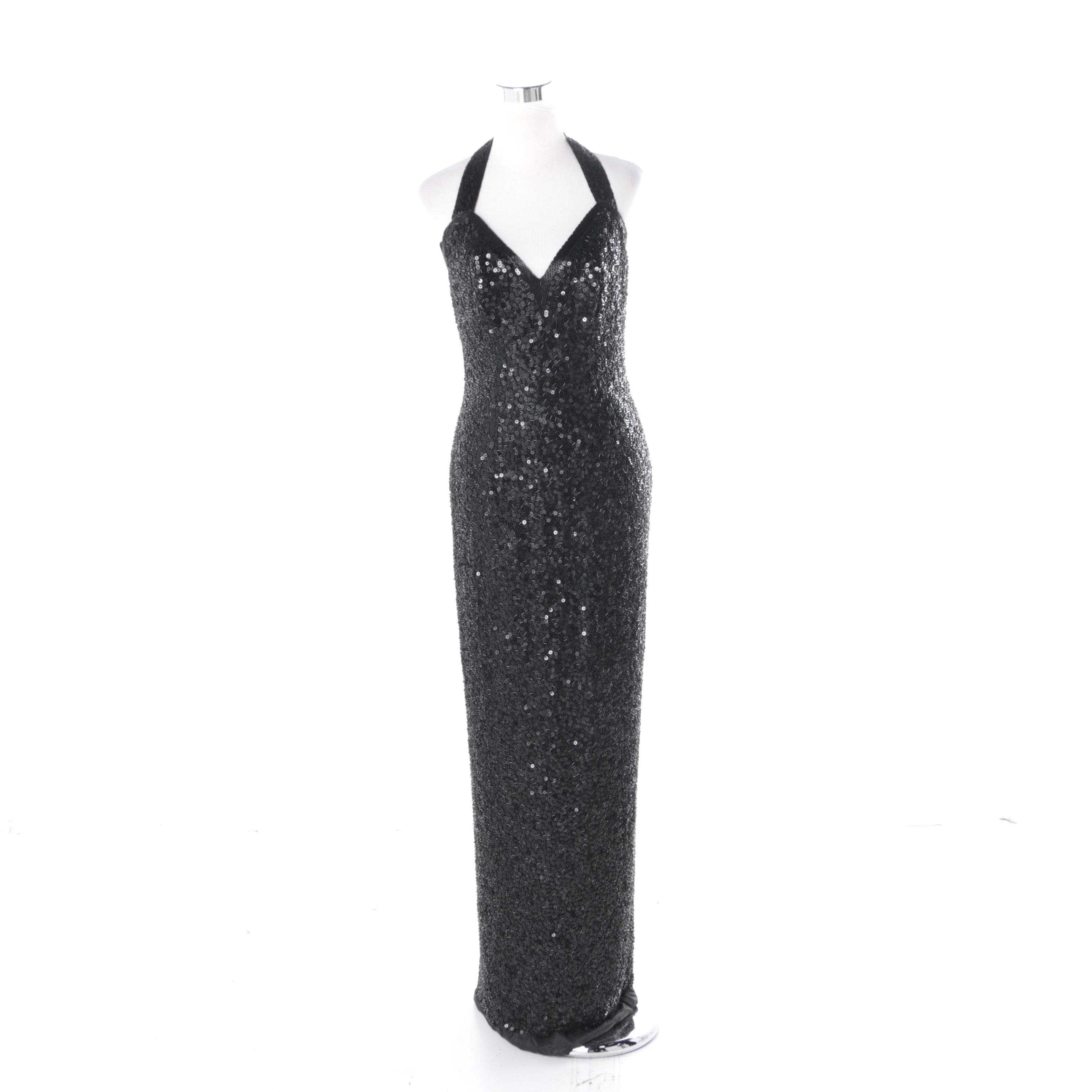 Stephen Yearick for Lillie Rubin Hand Beaded Silk Evening Gown